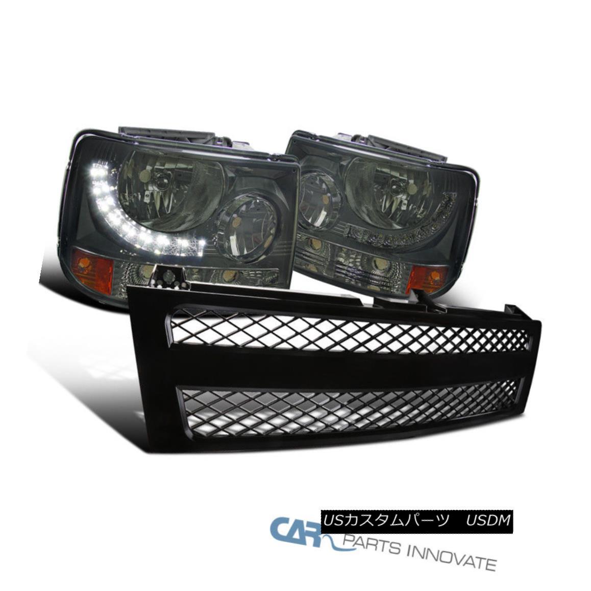 グリル 99-02 Chevy Silverado 2in1 Smoke LED DRL Headlights+Black ABS Mesh Hood Grille 99-02シボレーシルバラード2in1煙LED DRLヘッドライト+ Bla ck ABSメッシュフードグリル
