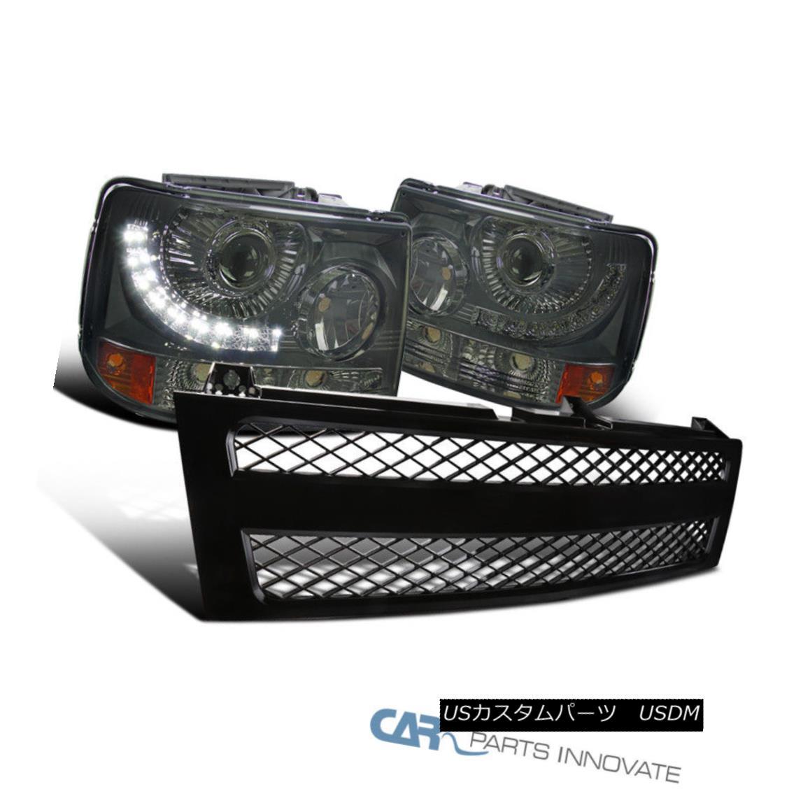 グリル 99-02 Silverado 2in1 LED DRL Smoke Lens Projector Headlights+Black Mesh Grille 99-02 Silverado 2in1 LED DRLスモークレンズプロジェクターヘッドライト+ Bla ckメッシュグリル