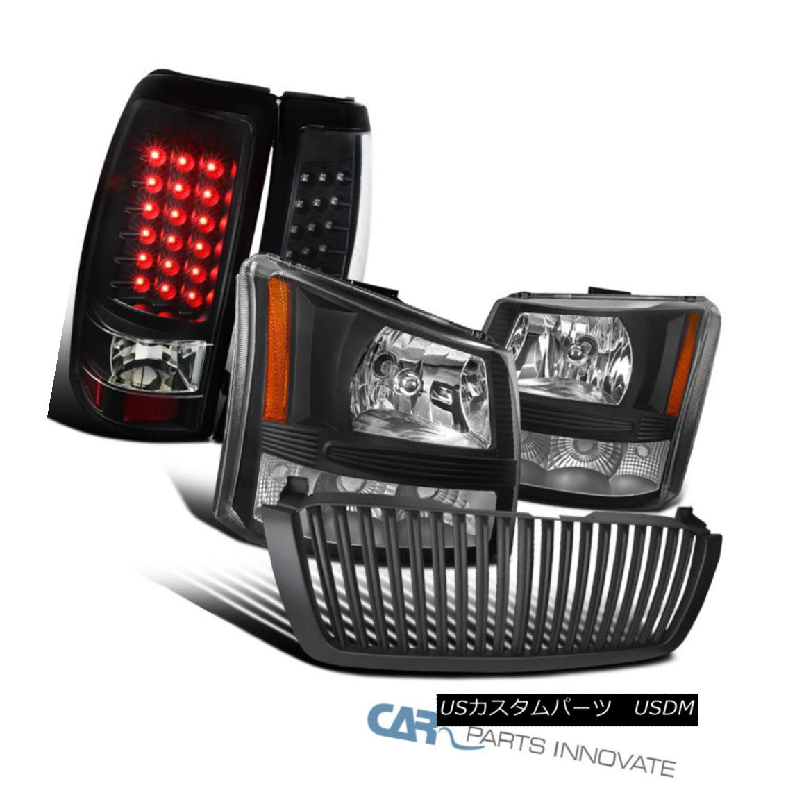 グリル Chevy 03-05 Silverado 2in1 Black Head Bumper Lights+Hood Grille+LED Tail Lamps Chevy 03-05 Silverado 2in1ブラックヘッドバンパーライト+フードグリル+ LEDテールランプ