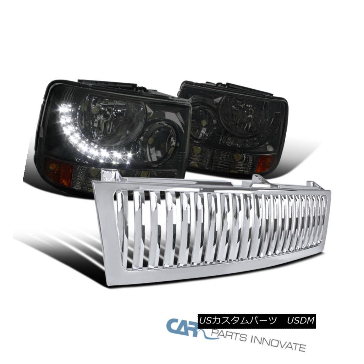 グリル 99-02 Silverado 2in1 Smoke Headlights Bumper Lamps+LED DRL+Chrome Hood Grille 99-02 Silverado 2in1スモークヘッドライトバンパーランプ+ LED DRL +クロムフードグリル