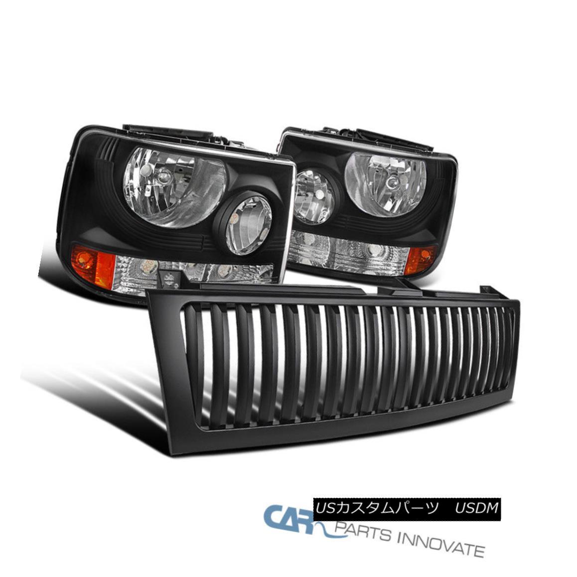 グリル Chevy 99-02 Silverado 00-06 Tahoe 2in1 Black Headlights Bumper Lamps+Hood Grille シボレー99-02シルバラード00-06タホ2in1ブラックヘッドライトバンパーランプ+フードグリル