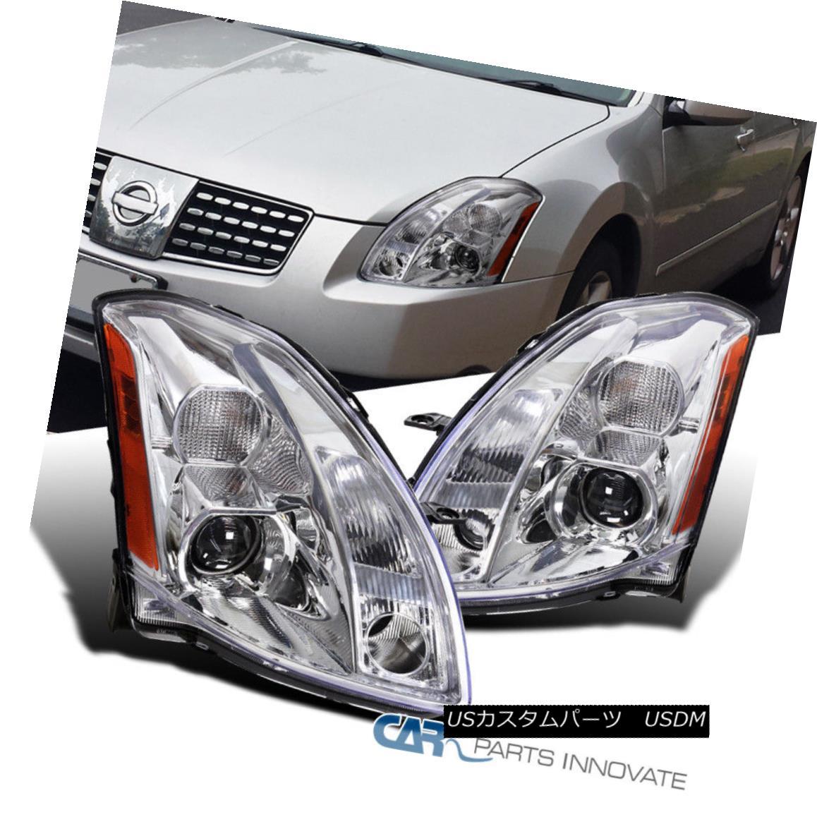 グリル For 04-06 Nissan Maxima Clear Projector Headlights Replacement Head Lamps Pair 04-06日産マキシマクリアプロジェクターヘッドライト交換ヘッドランプペア