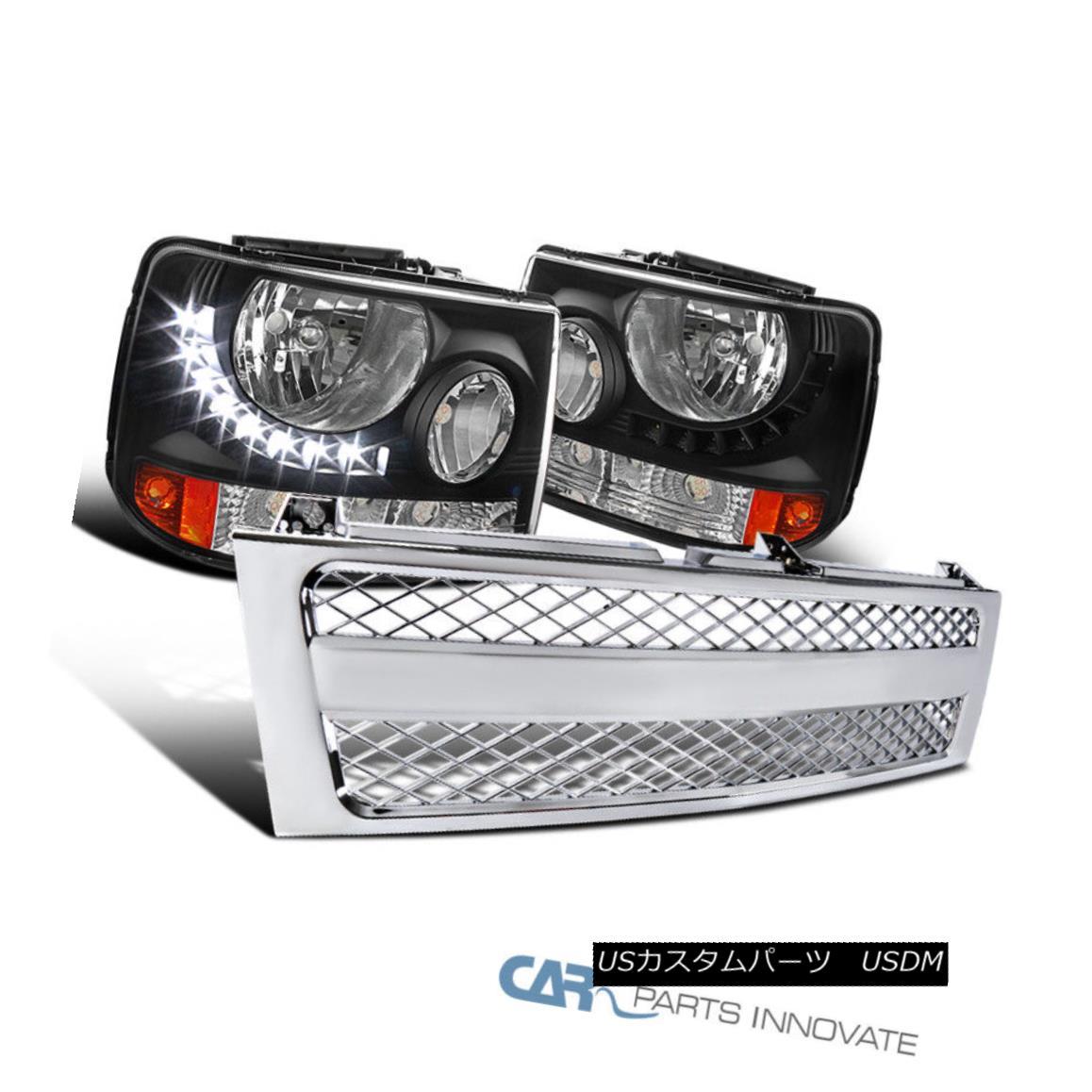 グリル Chevy 99-02 Silverado 2in1 Black LED DRL Headlights+Chrome ABS Mesh Hood Grille シボレー99-02 Silverado 2in1ブラックLED DRLヘッドライト+ Chr ome ABSメッシュフードグリル