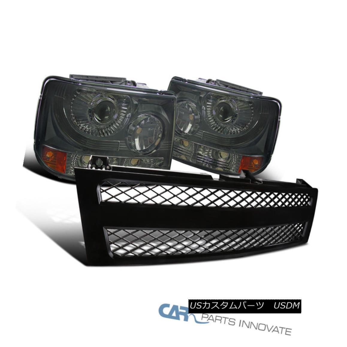 グリル Chevy 99-02 Silverado 2in1 Smoke Projector Headlights+Black Mesh Hood Grille Chevy 99-02 Silverado 2in1煙プロジェクターヘッドライト+ Bla ckメッシュフードグリル