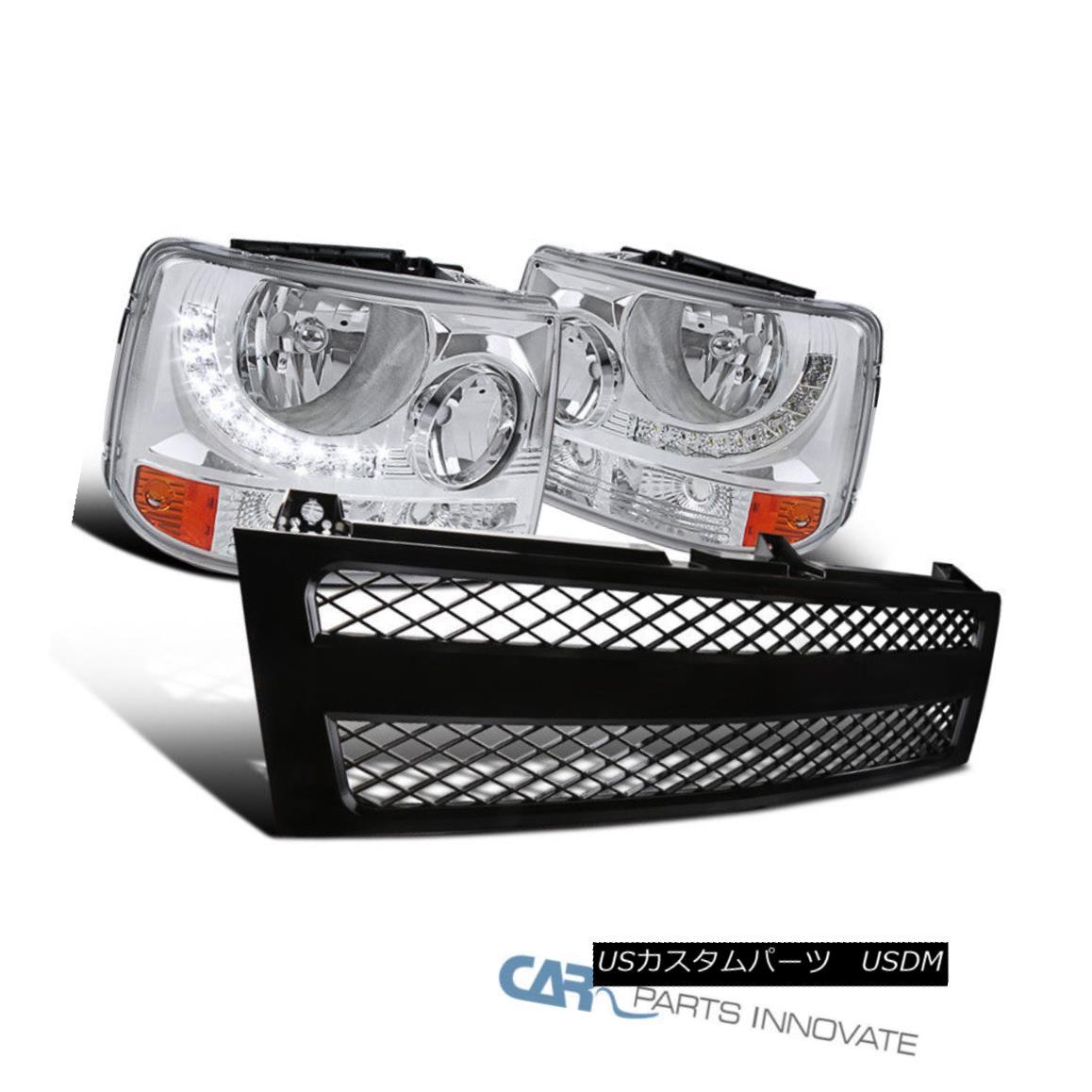 グリル Chevy 99-02 Silverado 2in1 Clear Headlights+LED DRL+Black ABS Mesh Hood Grille シボレー99-02シルバラード2in1クリアヘッドライト+ LED DRL +ブラックABSメッシュフードグリル