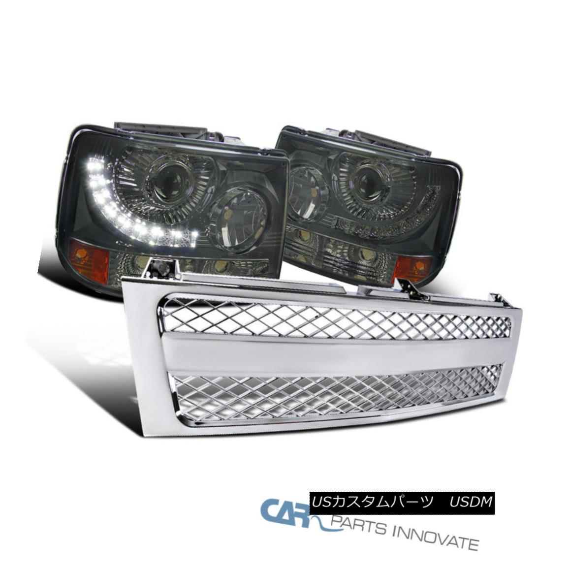 グリル Chevy 99-02 Silverado 2in1 Smoke LED DRL Projector Headlights+Chrome Mesh Grille Chevy 99-02 Silverado 2in1スモークLED DRLプロジェクターヘッドライト+ Chr ome Mesh Grille