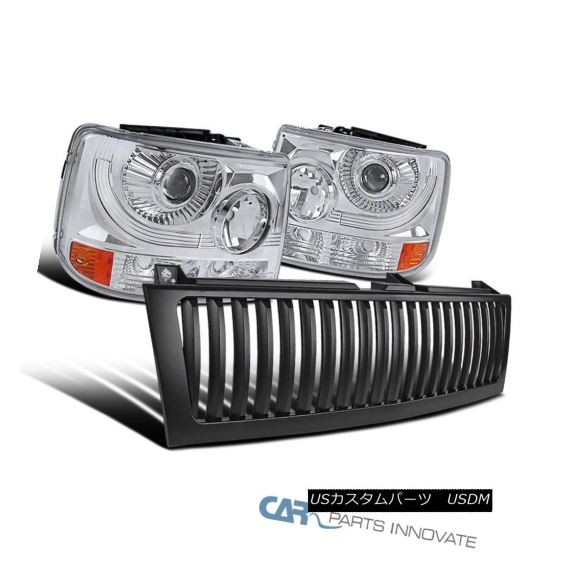 USグリル Chevy 99-02 Silverado 2in1 Clear Projector Head Bumper Lights+Black Hood Grille Chevy 99-02 Silverado 2in1クリアプロジェクターヘッドバンパーライト+ブラックフードグリル