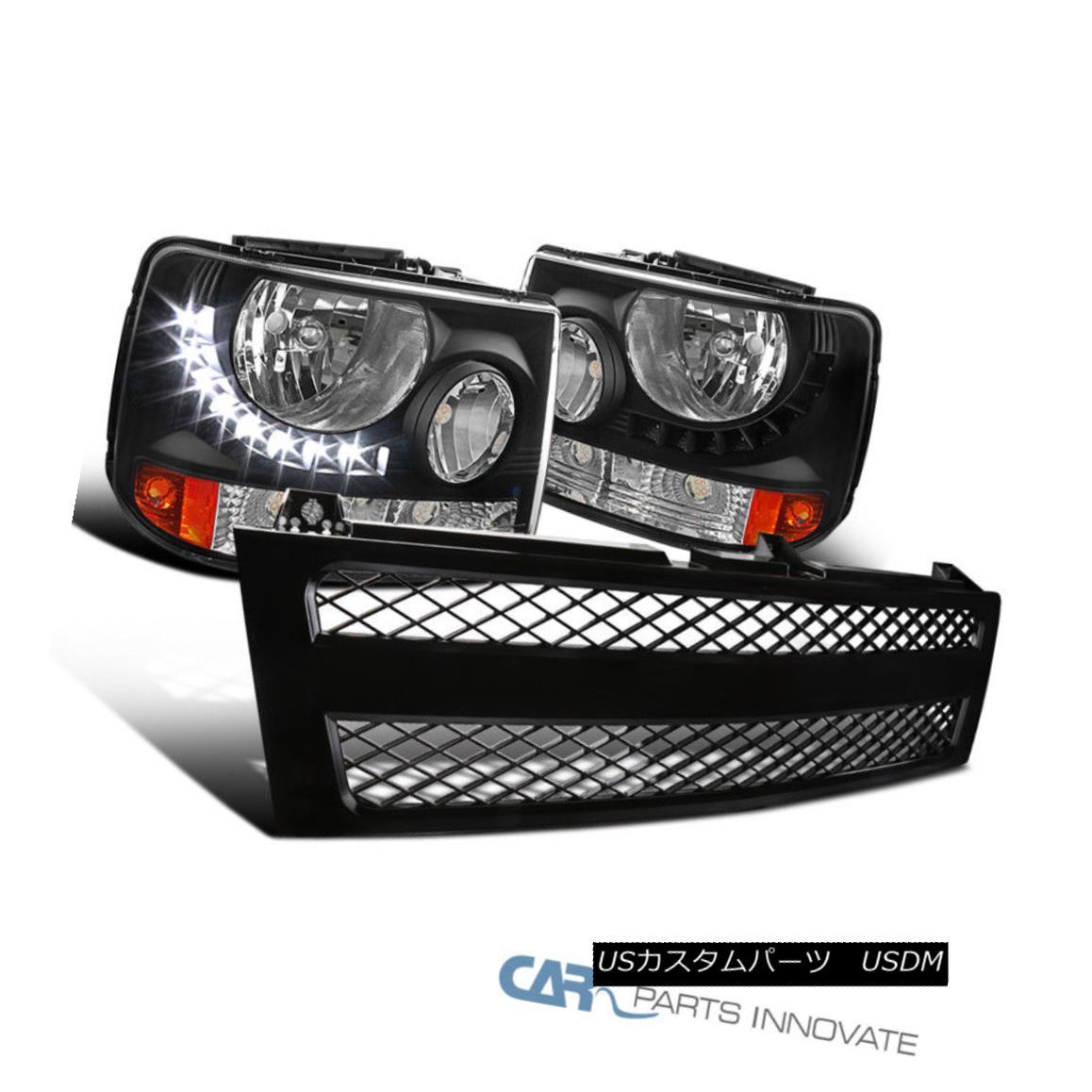 グリル 99-02 Chevy Silverado Pickup 2in1 LED DRL Black Headlights+Mesh ABS Hood Grille 99-02シボレーシルバラードピックアップ2in1 LED DRLブラックヘッドライト+メス h ABSフードグリル