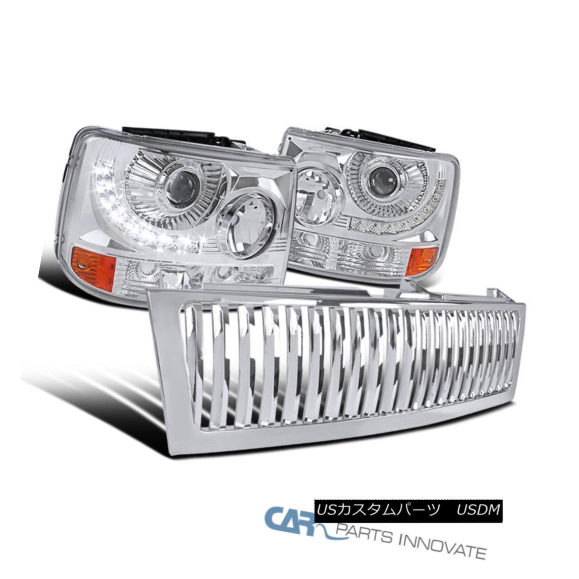 グリル 99-02 Silverado 2in1 Clear Projector Head Bumper Lights+LED DRL+Chrome Grille 99-02 Silverado 2in1クリアプロジェクターヘッドバンパーライト+ LED DRL +クロームグリル