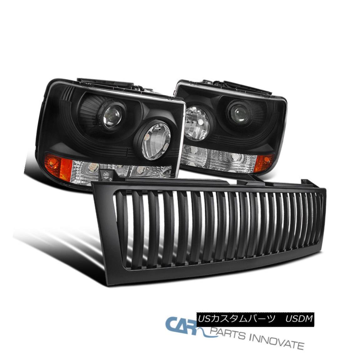 グリル Chevy 99-02 Silverado 2in1 Black Projector Head Bumper Lights+Black Hood Grille Chevy 99-02 Silverado 2in1ブラックプロジェクターヘッドバンパーライト+ブラックフードグリル