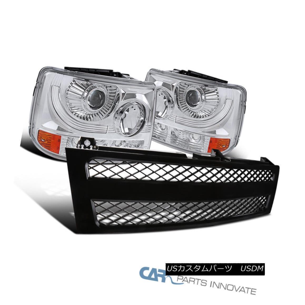 グリル Chevy 99-02 Silverado 2in1 Clear Projector Headlights+Black Mesh Hood Grille Chevy 99-02 Silverado 2in1クリアプロジェクターヘッドライト+ Bla ckメッシュフードグリル