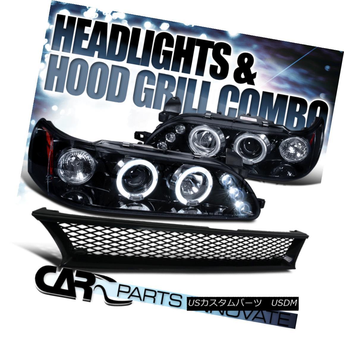 グリル For 93-97 Toyota Corolla Glossy Black Halo LED Projector Headlights+Mesh Grille 93-97トヨタカローラグロッシーブラックハローLEDプロジェクターヘッドライト+メス hグリル