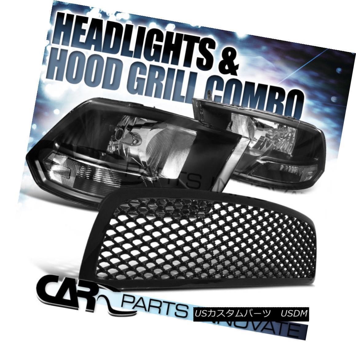 グリル 2009-2012 Dodge Ram 1500 Black Crystal Headlights+Glossy ABS Mesh Grille 2009-2012ダッジラム1500ブラッククリスタルヘッドライト+グロー ssy ABSメッシュグリル