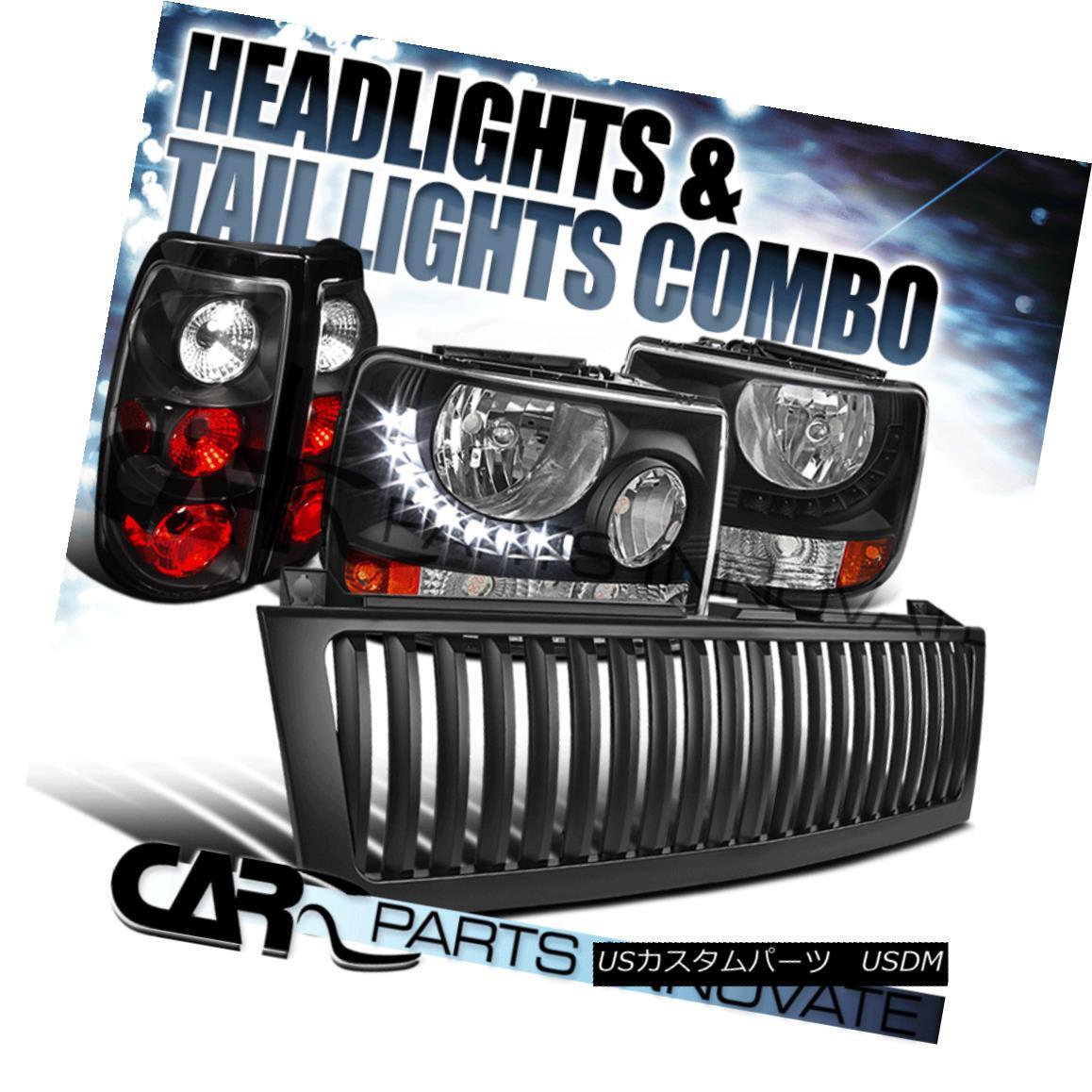 グリル 99-02 Silverado 2in1 Black Head Bumper Lights+LED DRL+Hood Grille+Tail Lamps 99-02 Silverado 2in1ブラックヘッドバンパーライト+ LED DRL +フードグリル+テールランプ