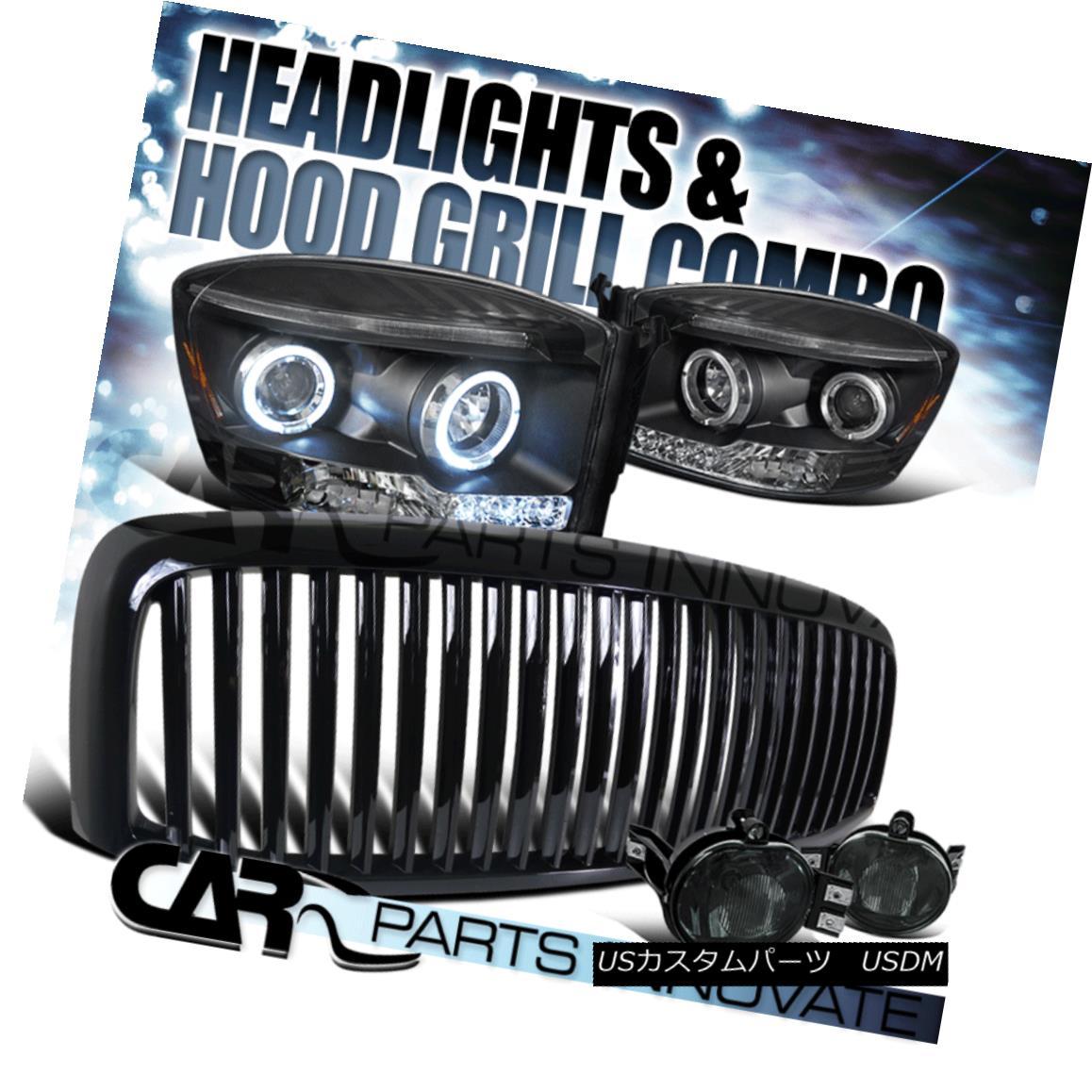 グリル 06-08 Ram 1500 2500 3500 Black LED Projector Headlights+Smoke Fog Lamp+Grille 06-08 Ram 1500 2500 3500黒色LEDプロジェクターヘッドライト+スモーキー keフォグランプ+グリル