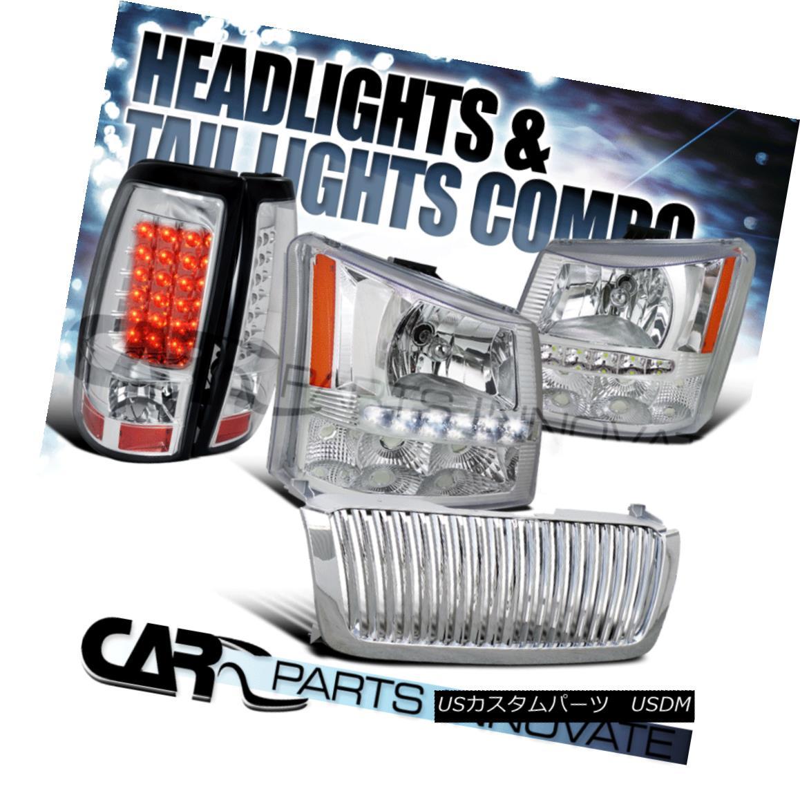 グリル 03-05 Silverado 2in1 Chrome SMD LED DRL Head Bumper Lights+Grille+LED Tail Lamp 03-05 Silverado 2in1 Chrome SMD LED DRLヘッドバンパーライト+グリル+ LEDテールランプ