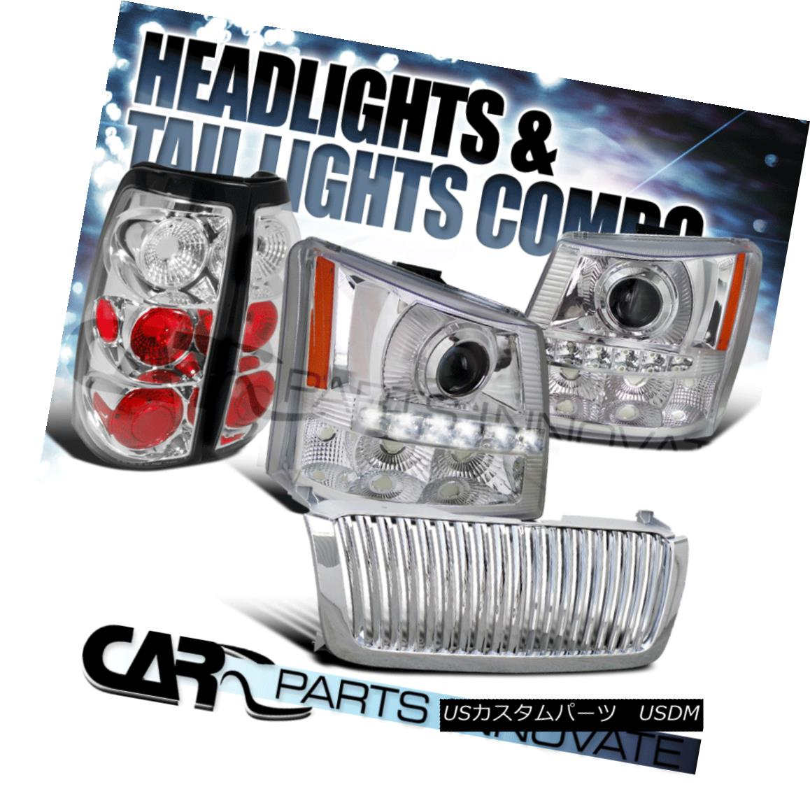 グリル 03-05 Silverado Chrome Projector Head Bumper Light+SMD LED+Grille+Tail Lamp 03-05 Silverado Chromeプロジェクターヘッドバンパーライト+ SMD LED +グリル+タイ lランプ