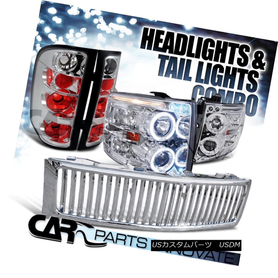 グリル Chrome 07-13 Silverado 1500 LED Halo Projector Headlights+Tail Light+Hood Grille Chrome 07-13 Silverado 1500 LEDハロープロジェクターヘッドライト+タイ lライト+フードグリル