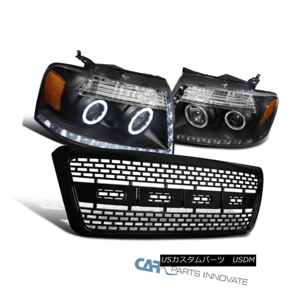 グリル Ford 04-08 F150 Pickup Black Halo LED Projector Headlights+Raptor Bumper Grille フォード04-08 F150ピックアップブラックハローLEDプロジェクターヘッドライト+ラップ tor Bumper Grille