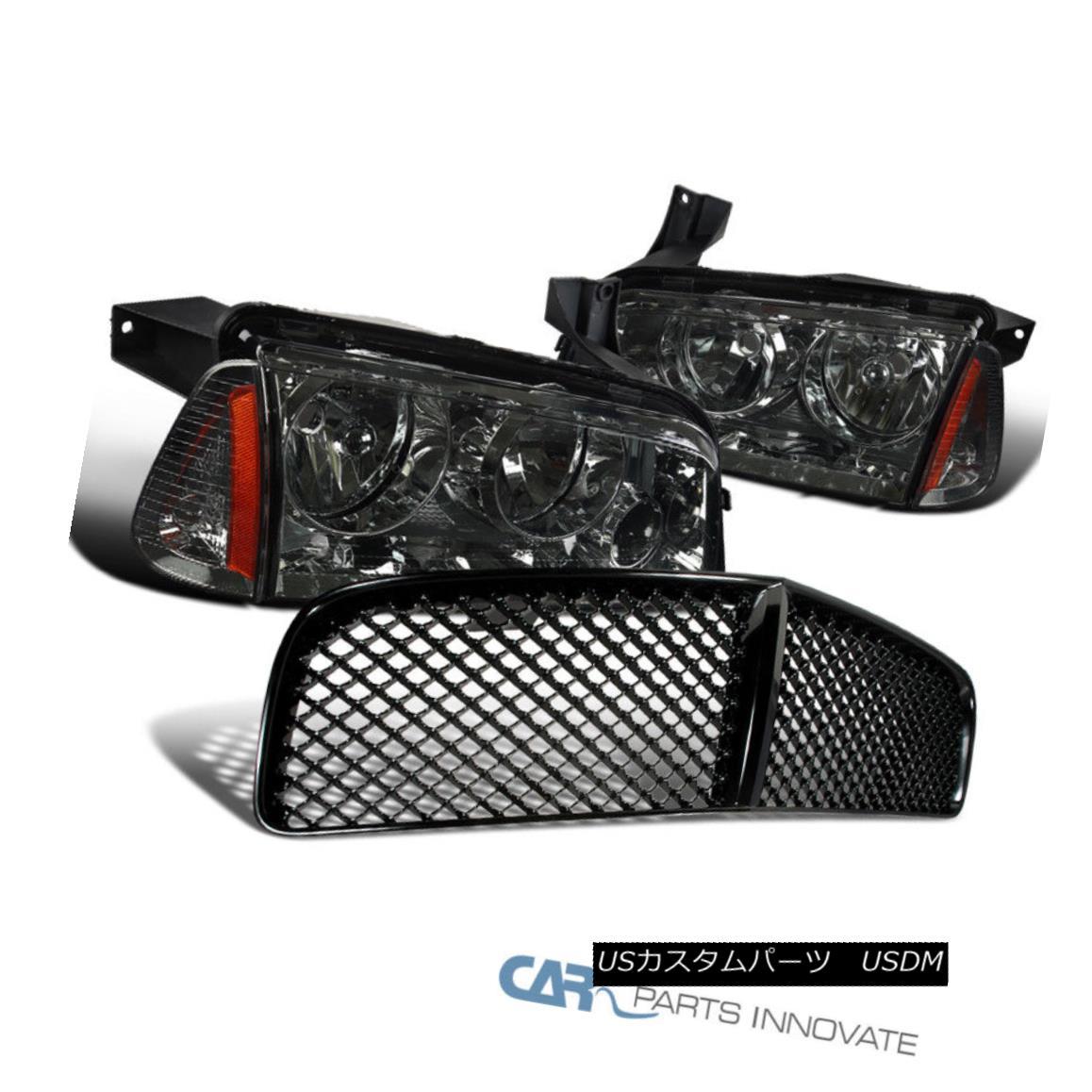グリル Dodge 06-10 Charger Replacement Smoke Headlights+Corner+Mesh Front Hood Grille ドッジ06-10充電器の交換用スモークヘッドライト+ Cor ner +メッシュフロントフードグリル