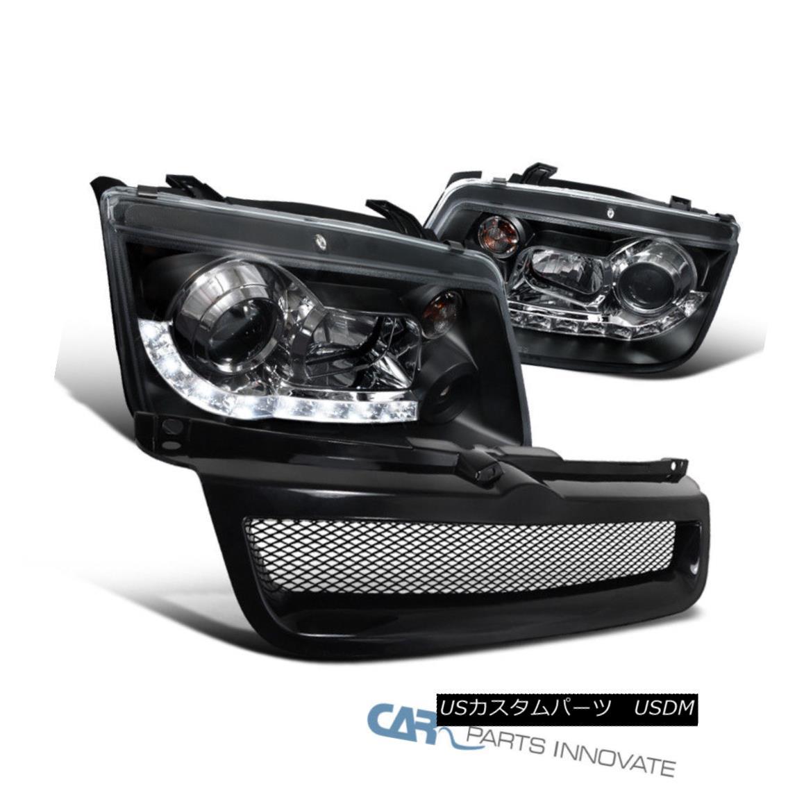 グリル Fit VW 99-04 Jetta Mk4 Black LED DRL Projector Headlights+ABS Hood Grille Grill フィットVW 99-04ジェッタMk4ブラックLED DRLプロジェクターヘッドライト+ ABSフードグリルグリル