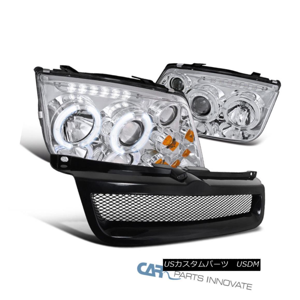 グリル Fit 99-04 VW Jetta Mk4 Clear Halo LED Projector Headlights+Black ABS Hood Grille フィット99-04 VWジェッタMk4クリアハローLEDプロジェクターヘッドライト+ Bla ck ABSフードグリル