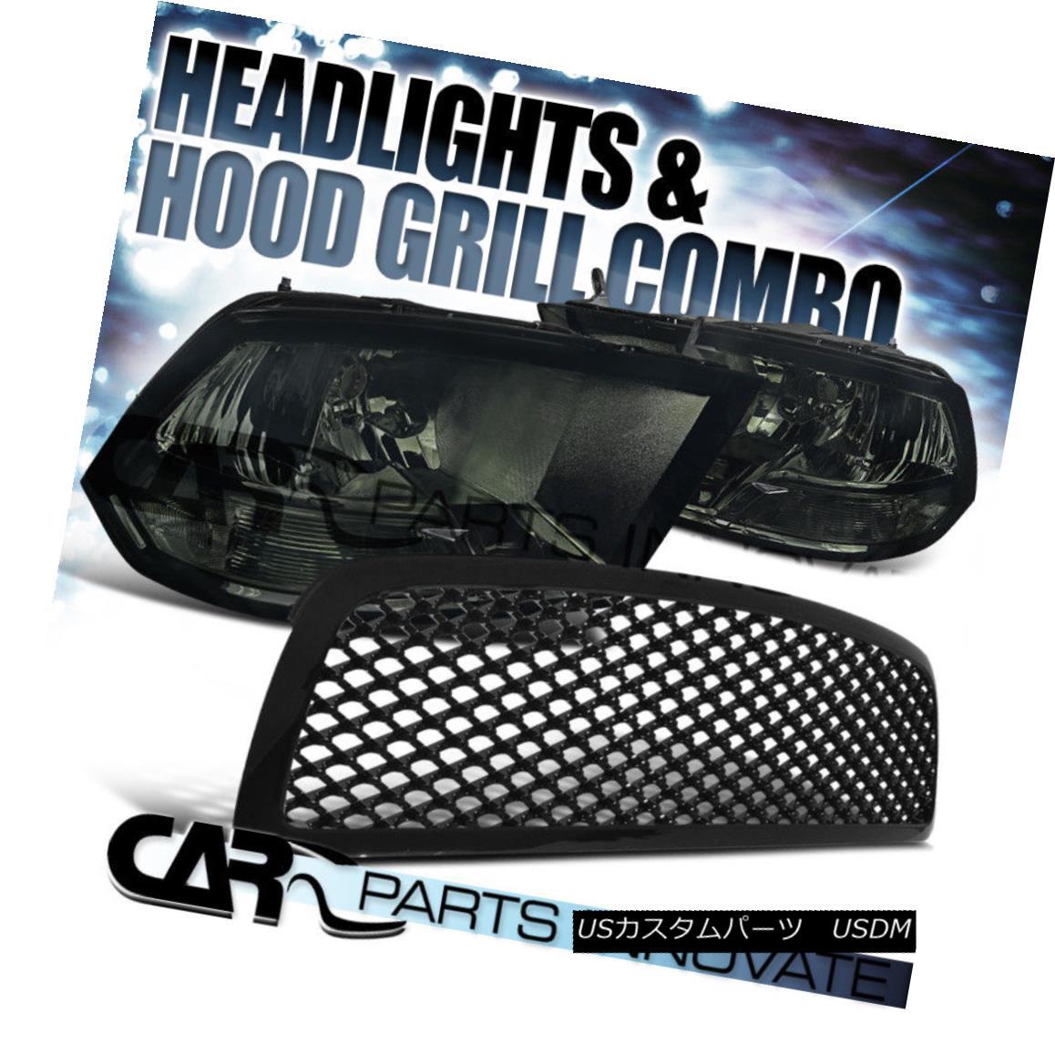 グリル 2009-2012 Dodge Ram 1500 Smoke Crystal Headlights+Glossy ABS Mesh Grille 2009-2012ダッジラム1500スモーククリスタルヘッドライト+グロー ssy ABSメッシュグリル