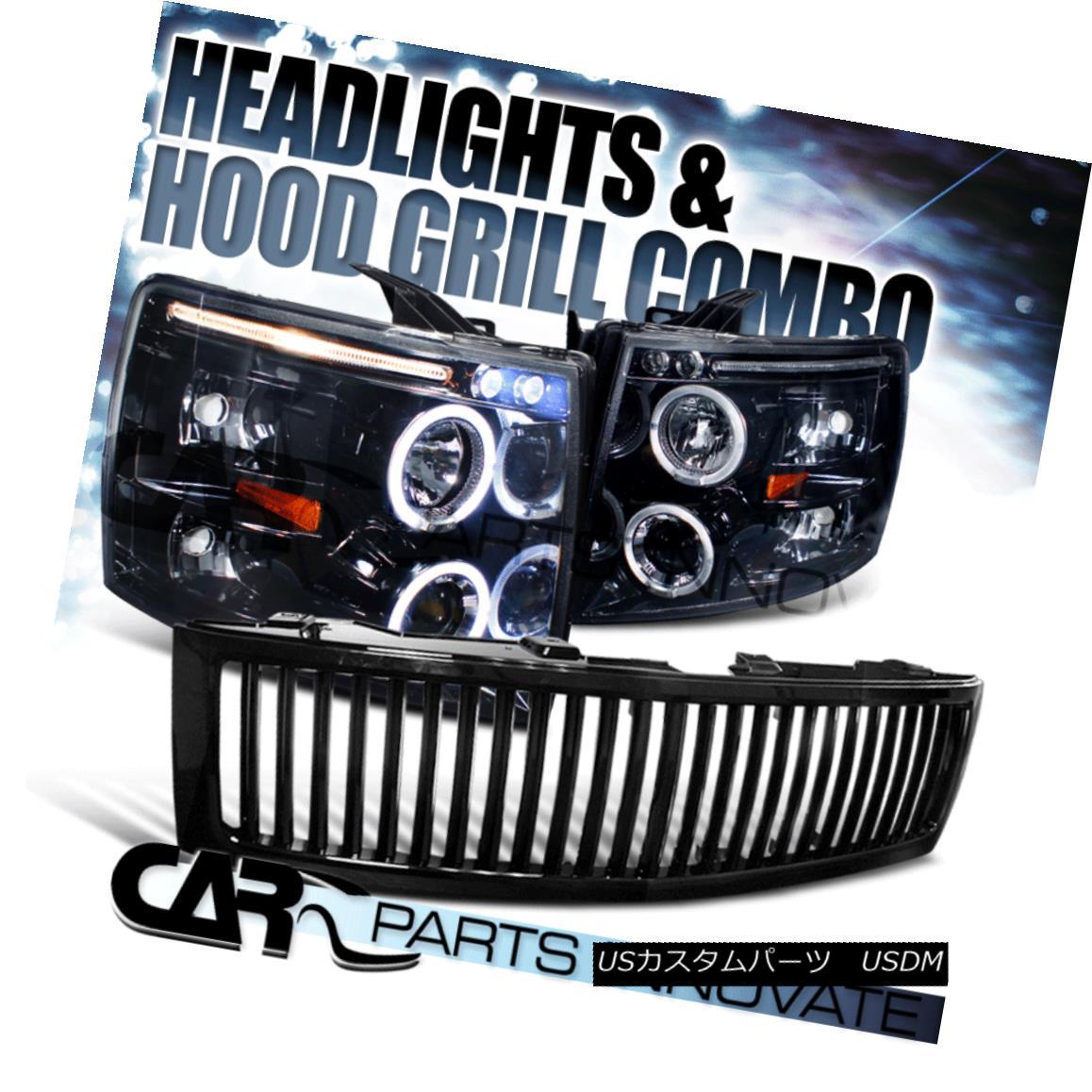グリル Glossy Black 07-13 Chevy Silverado 1500 Smoke LED Projector Headlights+Grille 光沢のある黒07-13 Chevy Silverado 1500煙LEDプロジェクターヘッドライト+グリ lle