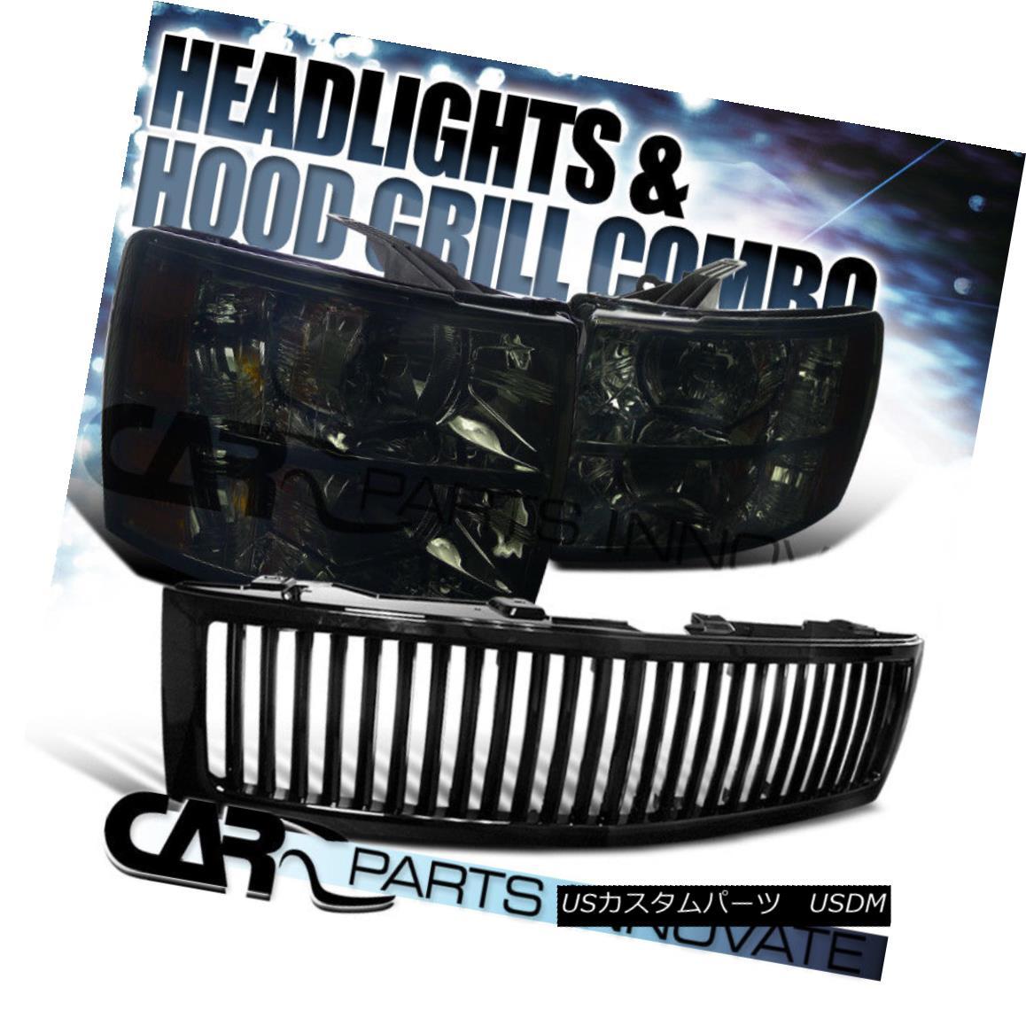 グリル 2007-2013 Chevy Silverado 1500 Crystal Headlights Smoke+Black Vertical Grille 2007-2013シボレーシルバラード1500クリスタルヘッドライトスモーク+ブラック垂直グリル