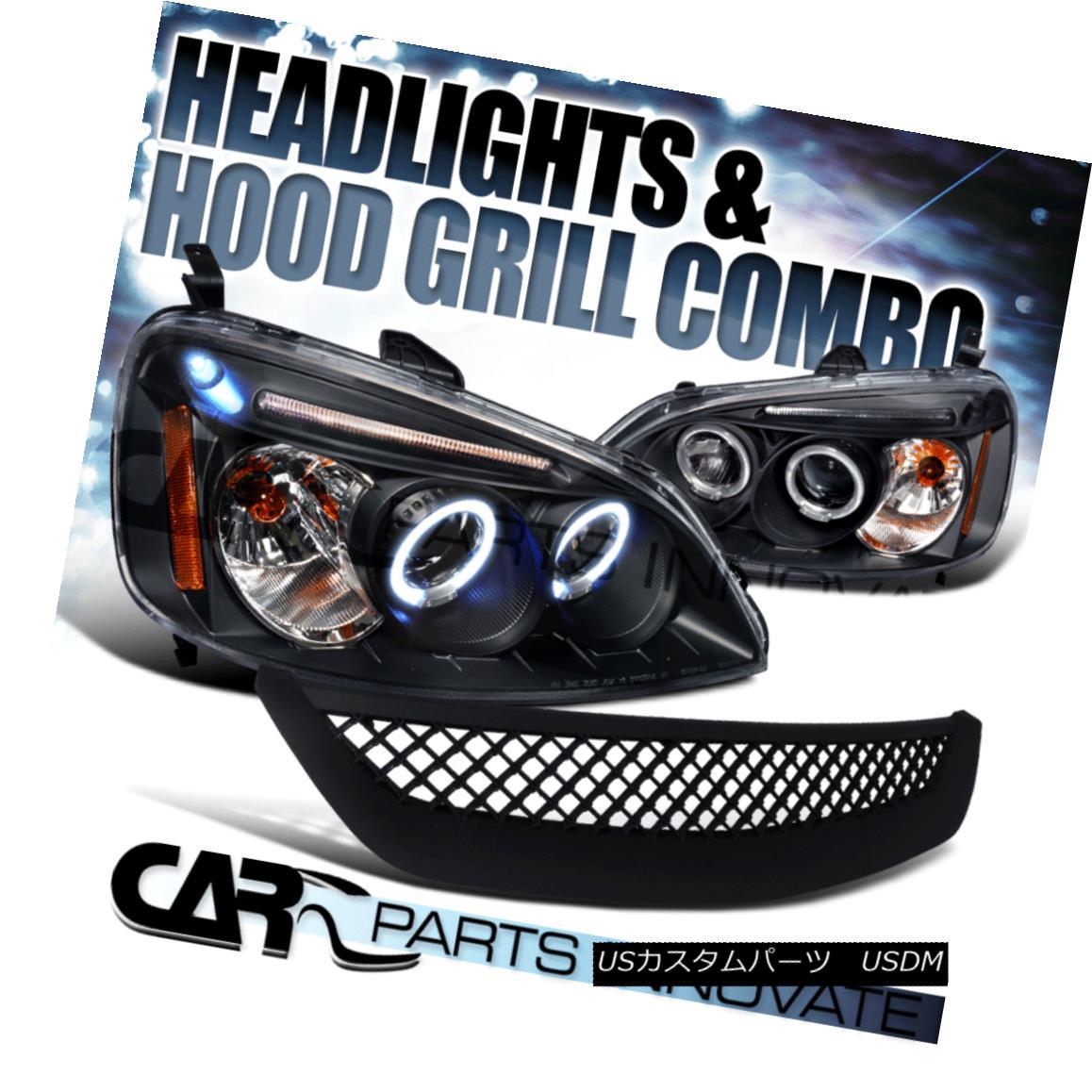 グリル For Honda 01-03 Civic 2/4Dr Black Halo LED Projector Headlight+Mesh Hood Grille ホンダ用01-03シビック2 / 4DrブラックハローLEDプロジェクターヘッドライト+メッシュフードグリル