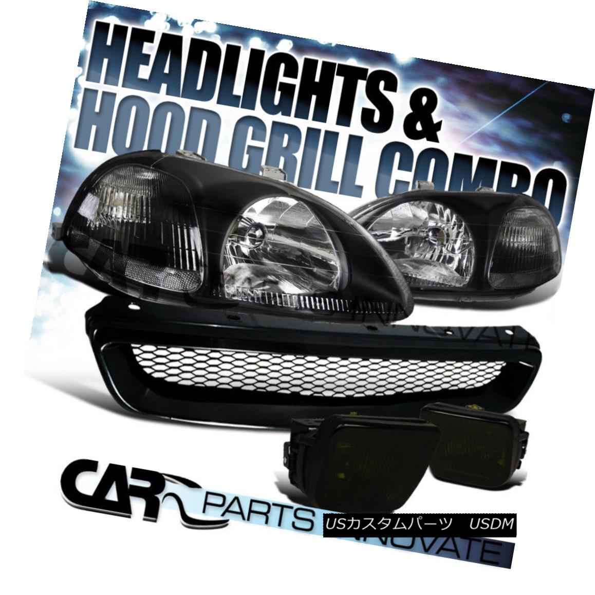 グリル Fit 1996-1998 Honda Civic Black Headlights+Smoke Fog Bumper Lamp+Mesh Grille フィット1996-1998ホンダシビックブラックヘッドライト+スモーキー keフォグバンパーランプ+メッシュグリル