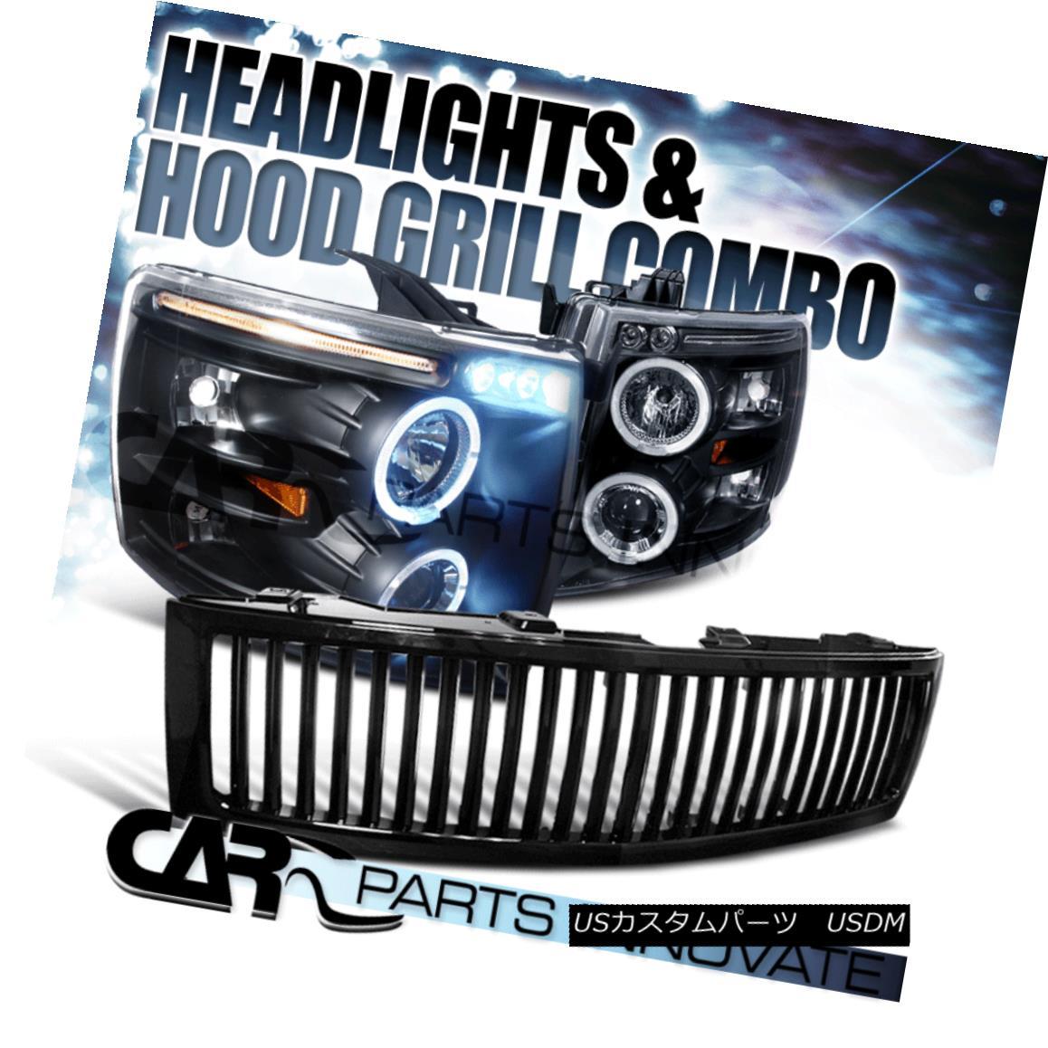 グリル 07-13 Chevy Silverado 1500 Black Halo LED Projector Headlights+Vertical Grille 07-13 Chevy Silverado 1500 Black Halo LEDプロジェクターヘッドライト+ Ver tical Grille