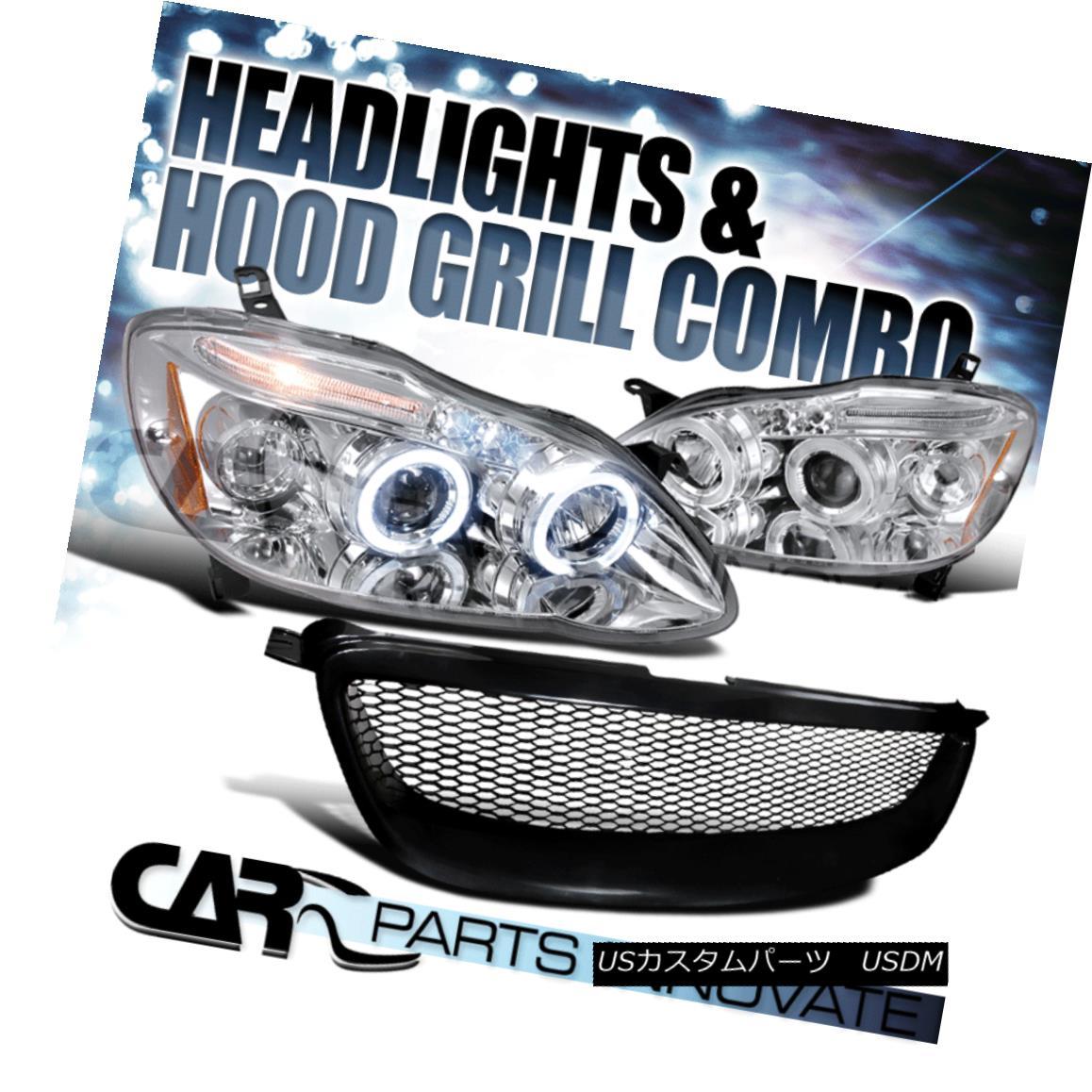 グリル Fit 03-08 Toyota Corolla Clear LED Projector Headlights Lamps+Mesh Hood Grille フィット03-08トヨタカローラクリアLEDプロジェクターヘッドライトランプ+メッシュフードグリル