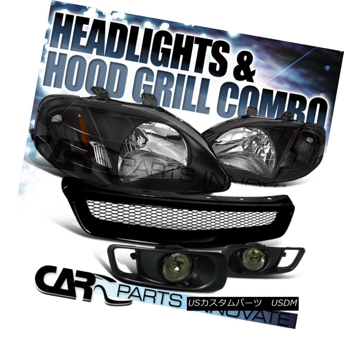 グリル Fit 1999-2000 Honda Civic Black Headlights+Smoke Fog Bumper Lamp+Mesh Grille フィット1999-2000ホンダシビックブラックヘッドライト+スモーキー keフォグバンパーランプ+メッシュグリル