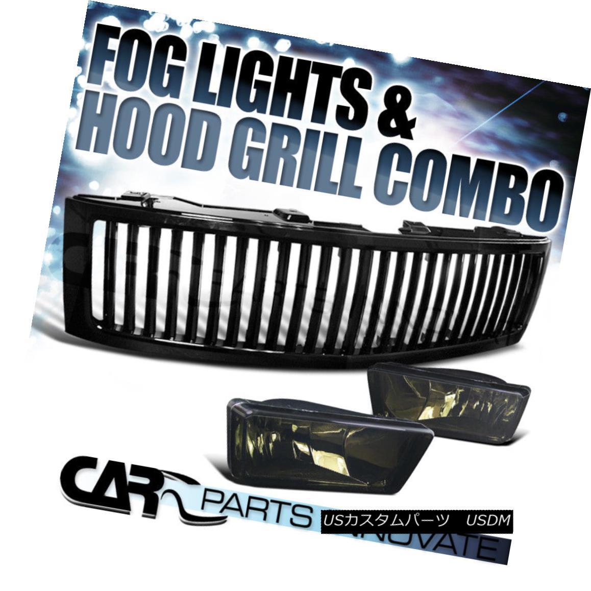 グリル 07-13 Chevy Silverado 1500 Smoke Fog Lights Driving Bumper Lamp+Black Grille 07-13 Chevy Silverado 1500スモークフォグライティングバンパーランプ+ブラックグリル
