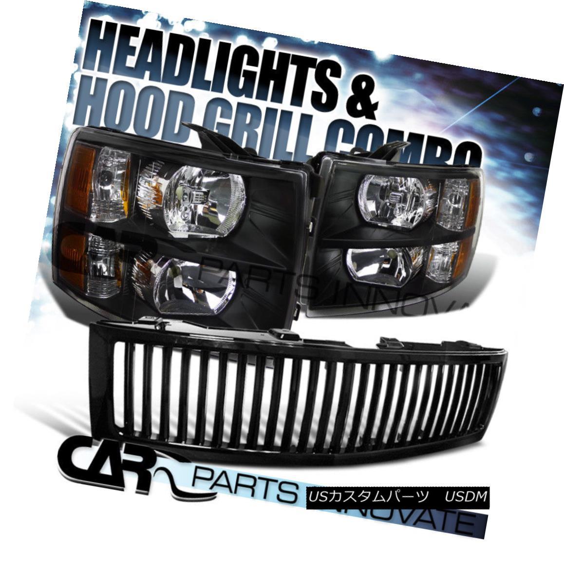 グリル 2007-2013 Chevy Silverado 1500 Crystal Headlights Black+Black Vertical Grille 2007年?2013年シボレーシルバラード1500クリスタルヘッドライトブラック+ブラック垂直グリル