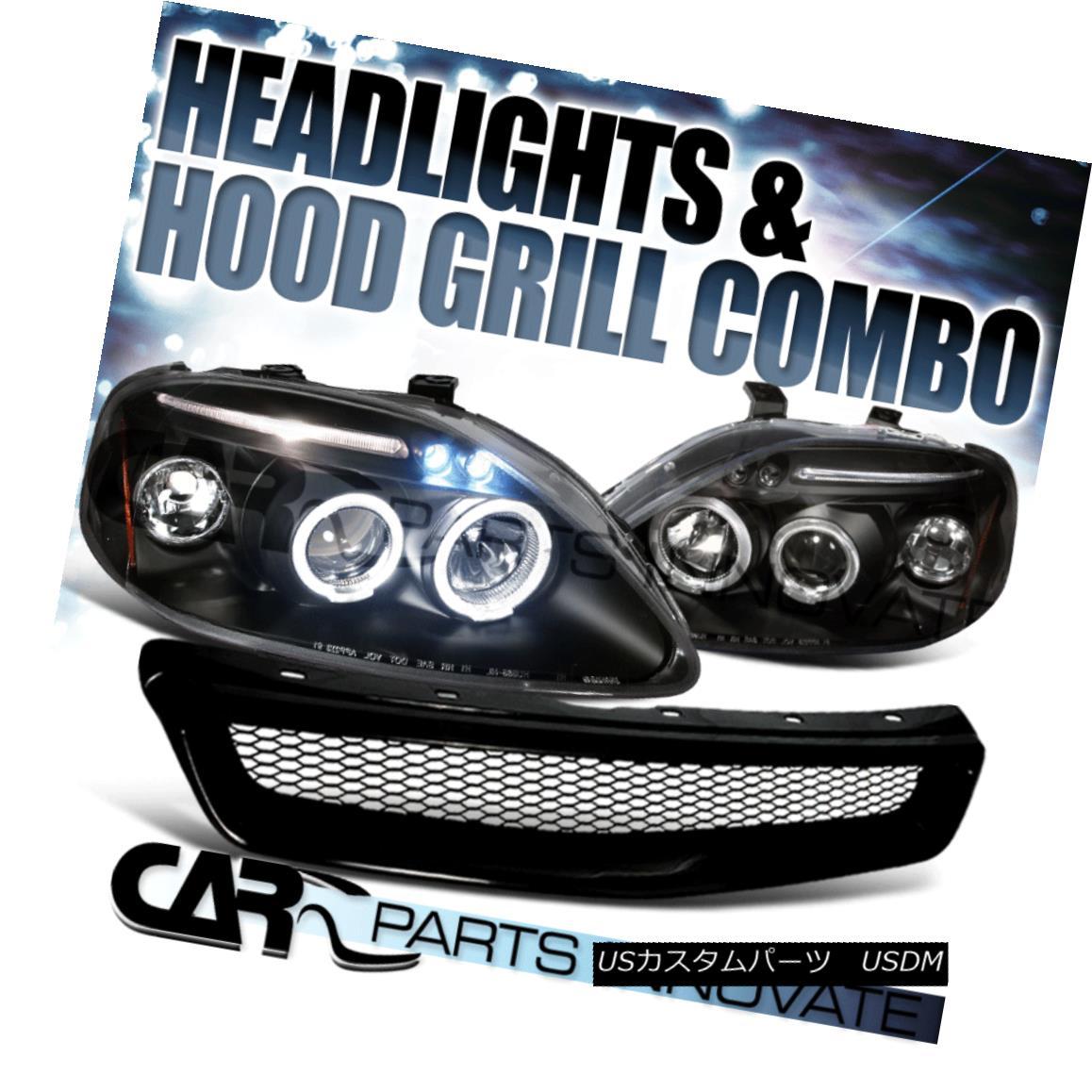 グリル For 99-00 Honda Civic Black Halo LED Projector Headlights+Front Mesh Hood Grille 99-00ホンダシビックブラックハローLEDプロジェクター用ヘッドライト+ ntメッシュフードグリル用