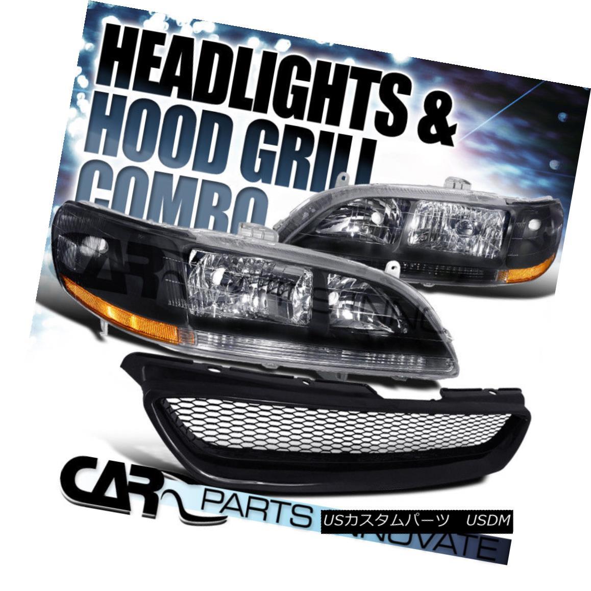 グリル For Honda 98-02 Accord 2Dr Coupe Black Crystal Headlight+Mesh Type Hood Grille R ホンダ98-02アコード2Drクーペブラッククリスタルヘッドライト+メッシュタイプフードグリルR