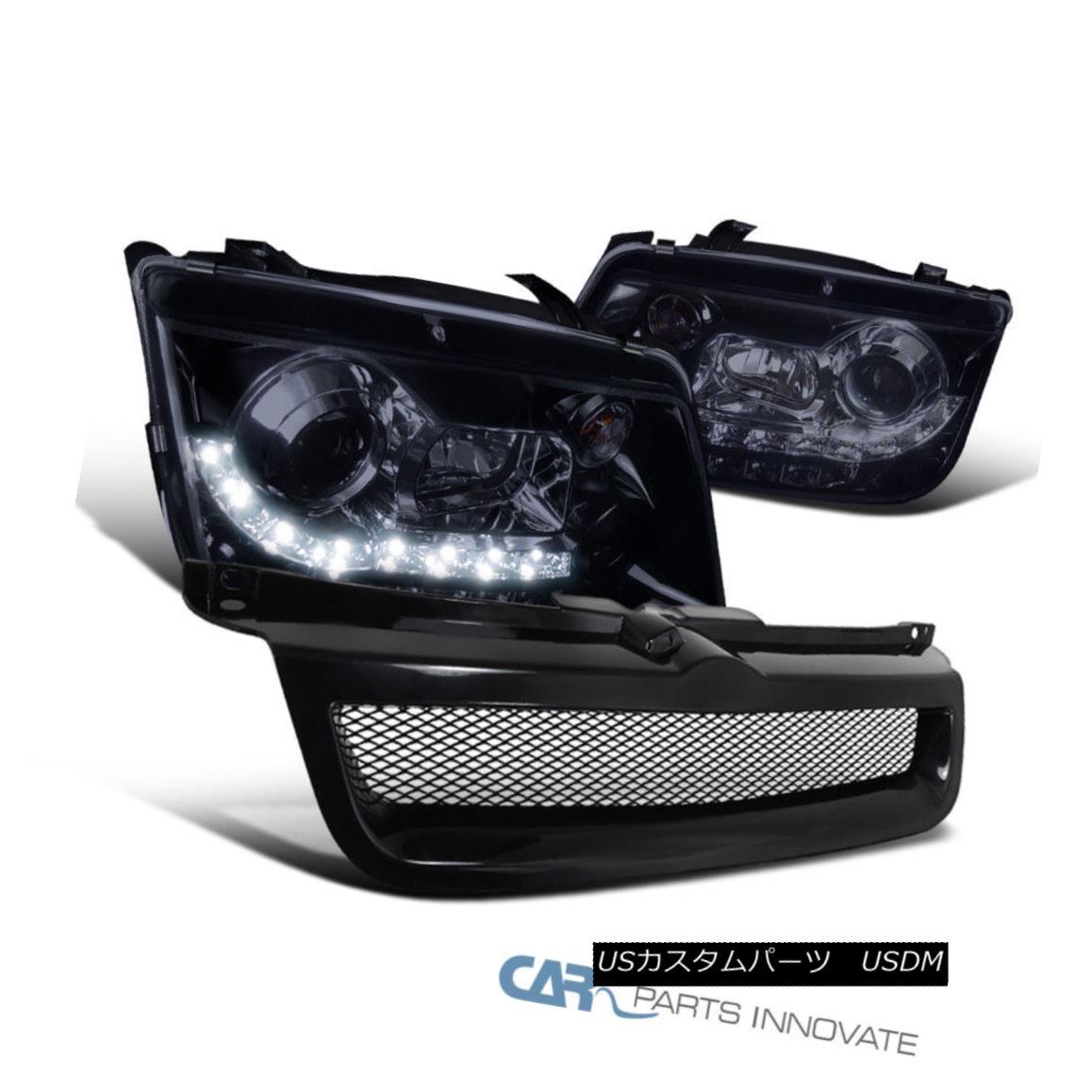 グリル Glossy Black Fit 99-04 Jetta Mk4 LED DRL Projector Headlights+ABS Hood Grille 光沢ブラックフィット99-04ジェッタMk4 LED DRLプロジェクターヘッドライト+ ABSフードグリル
