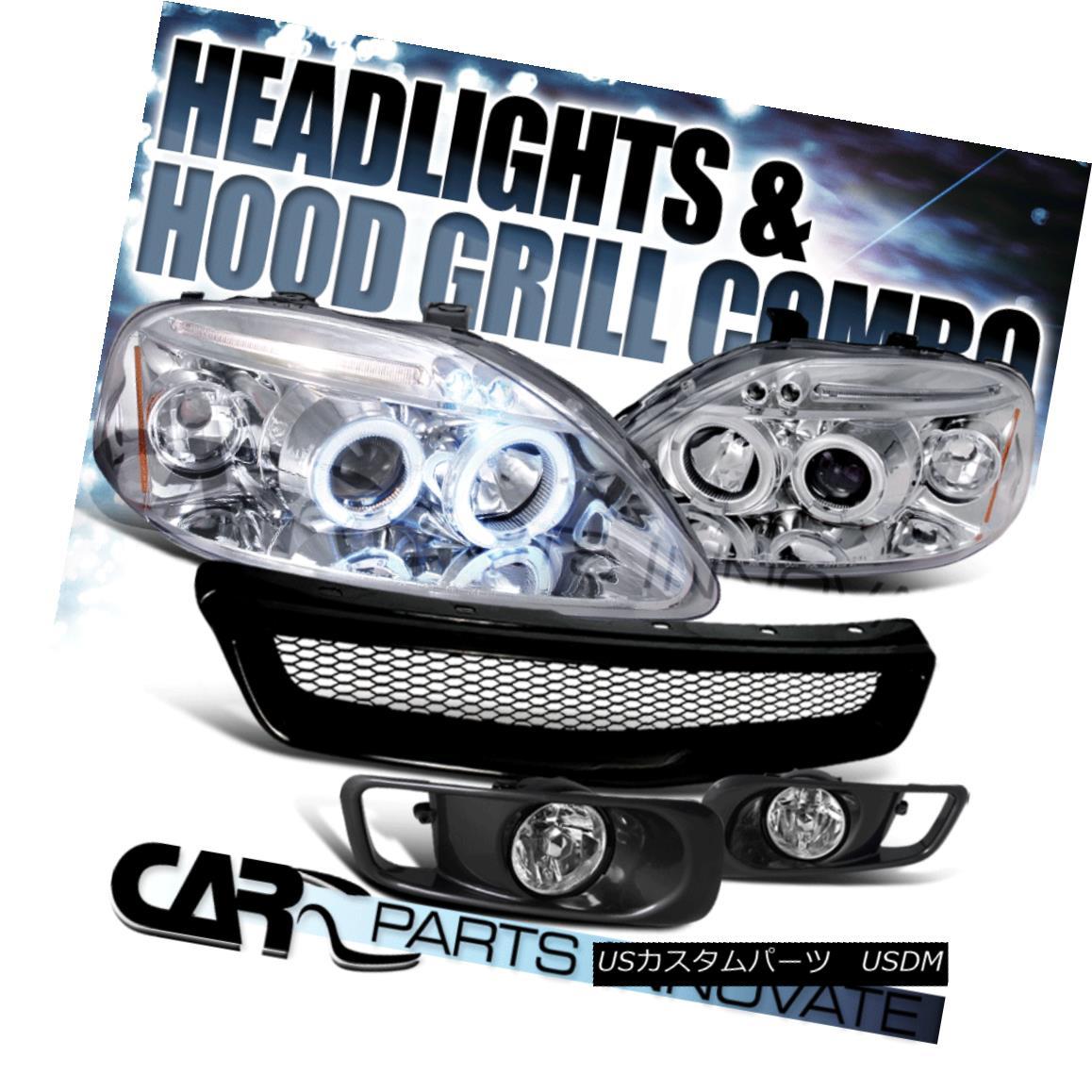 グリル Fit 99-00 Civic Chrome LED Projector Headlight+Clear Fog Bumper Lamp+Mesh Grille フィット99-00シビッククロームLEDプロジェクターヘッドライト+クリーア rフォグバンパーランプ+メッシュグリル