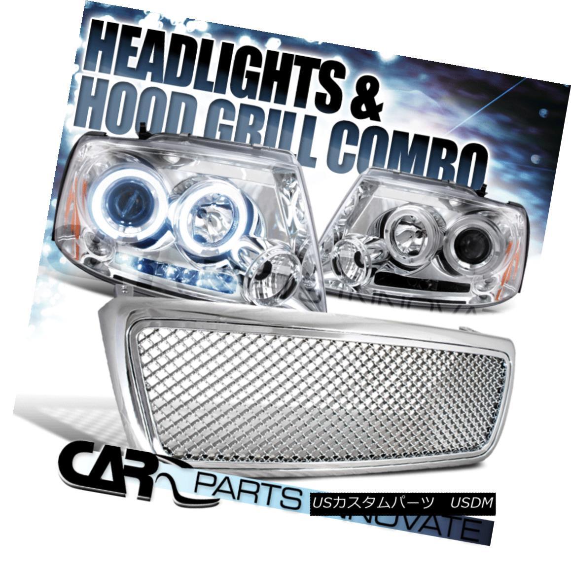 グリル 2004-2008 Ford F150 Chrome Halo LED Projector Headlights+ABS Mesh Grille 2004-2008 Ford F150 Chrome Halo LEDプロジェクターヘッドライト+ ABSメッシュグリル