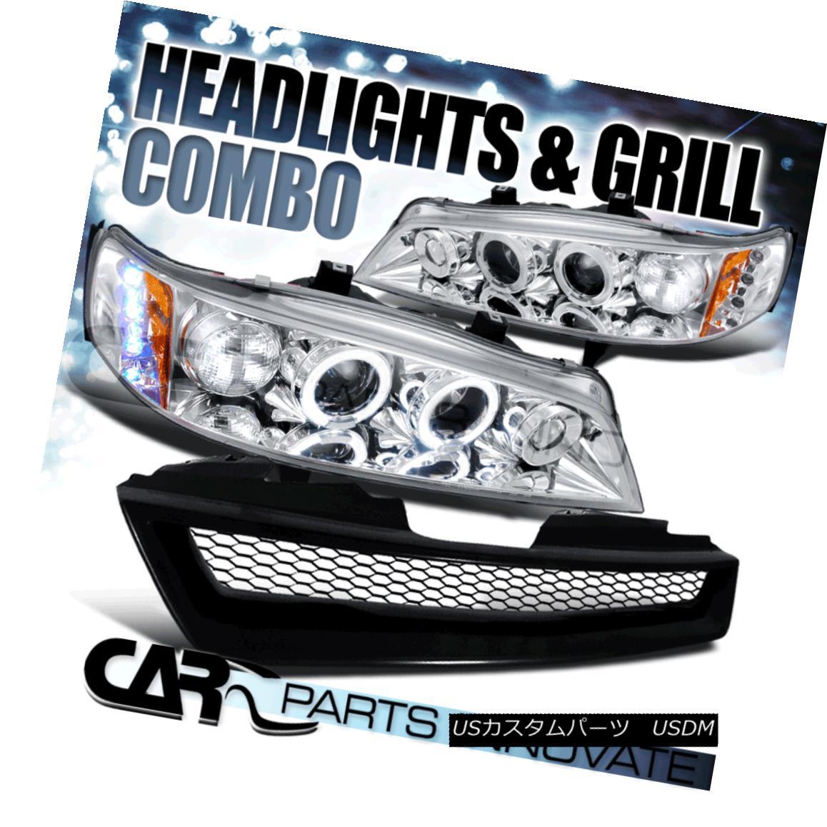 グリル For 94-97 Accord 2/4Dr Chrome Halo Projector Headlights w/ Mesh Hood Grille メッシュフードグリル付き94-97 Accord 2 / 4Drクロームハロープロジェクターヘッドライト用