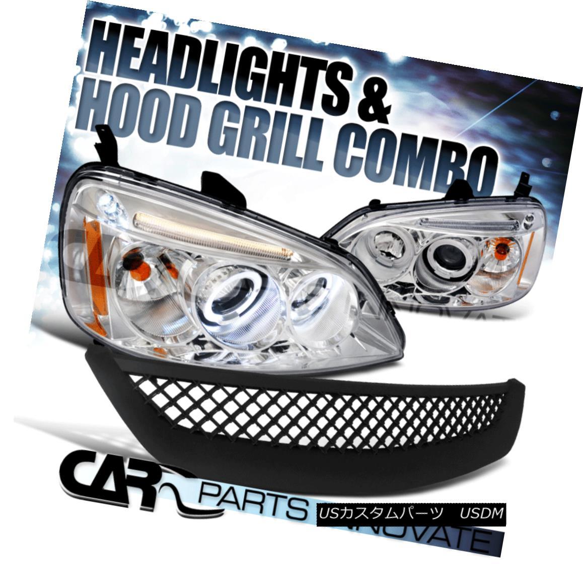 グリル Fit 01-03 Honda Civic 2/4Dr Clear Halo Projector Headlights+ABS Mesh Hood Grille フィット01-03ホンダシビック2 / 4Drクリアハロープロジェクターヘッドライト+ ABSメッシュフードグリル