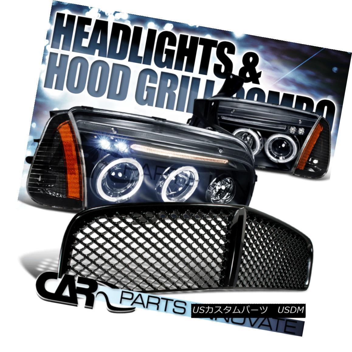 グリル 2006-2010 Dodge Charger Black Halo LED Projector Headlights+Corner Lamp+Grille 2006-2010 Dodge Charger Black Halo LEDプロジェクターヘッドライト+ Cor ner Lamp + Grille