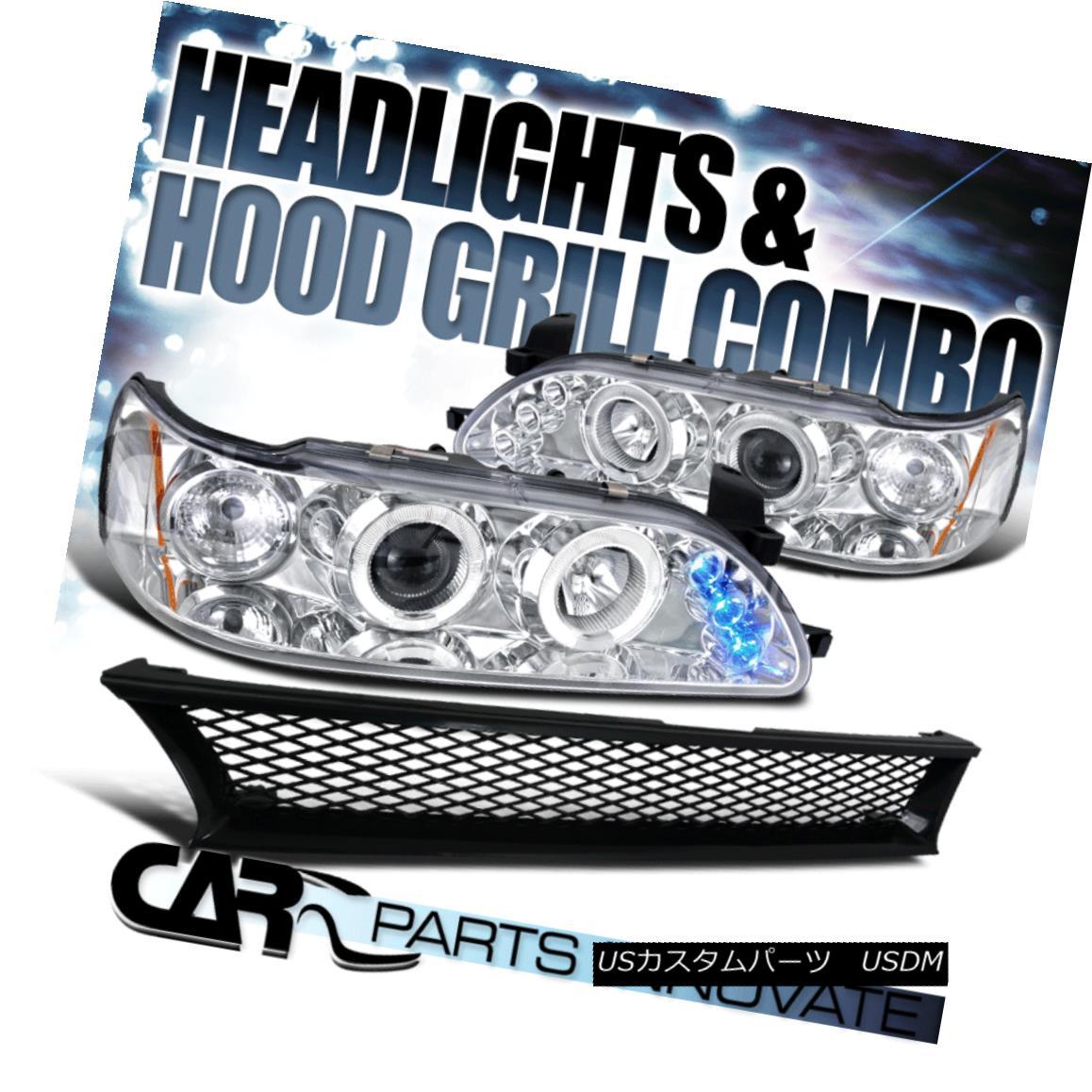 グリル For 93-97 Toyota Corolla Clear Halo LED Projector Headlights+Mesh Hood Grille 93-97トヨタカローラクリアハローLEDプロジェクターヘッドライト+メス hフードグリル