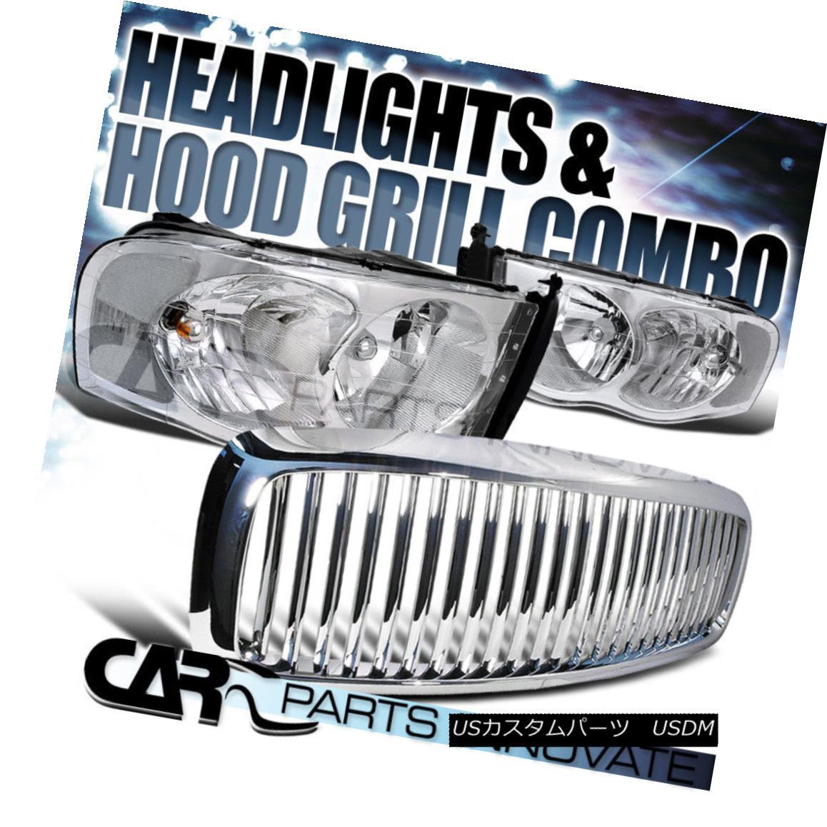 グリル 2002-2005 Ram 1500 2500 3500 Chrome Crystal Headlights+Vertical Hood Grille 2002-2005ラム1500 2500 3500クロームクリスタルヘッドライト+ Ver tical Hood Grille