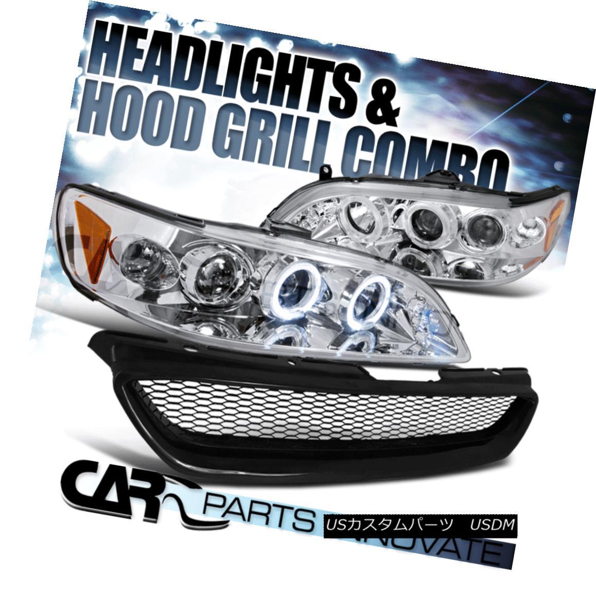グリル Fit 1998-2002 Accord 2Dr Chrome Halo LED Projector Headlights+Mesh Hood Grille Fit 1998-2002 Accord 2Dr Chrome Halo LEDプロジェクターヘッドライト+メス hフードグリル