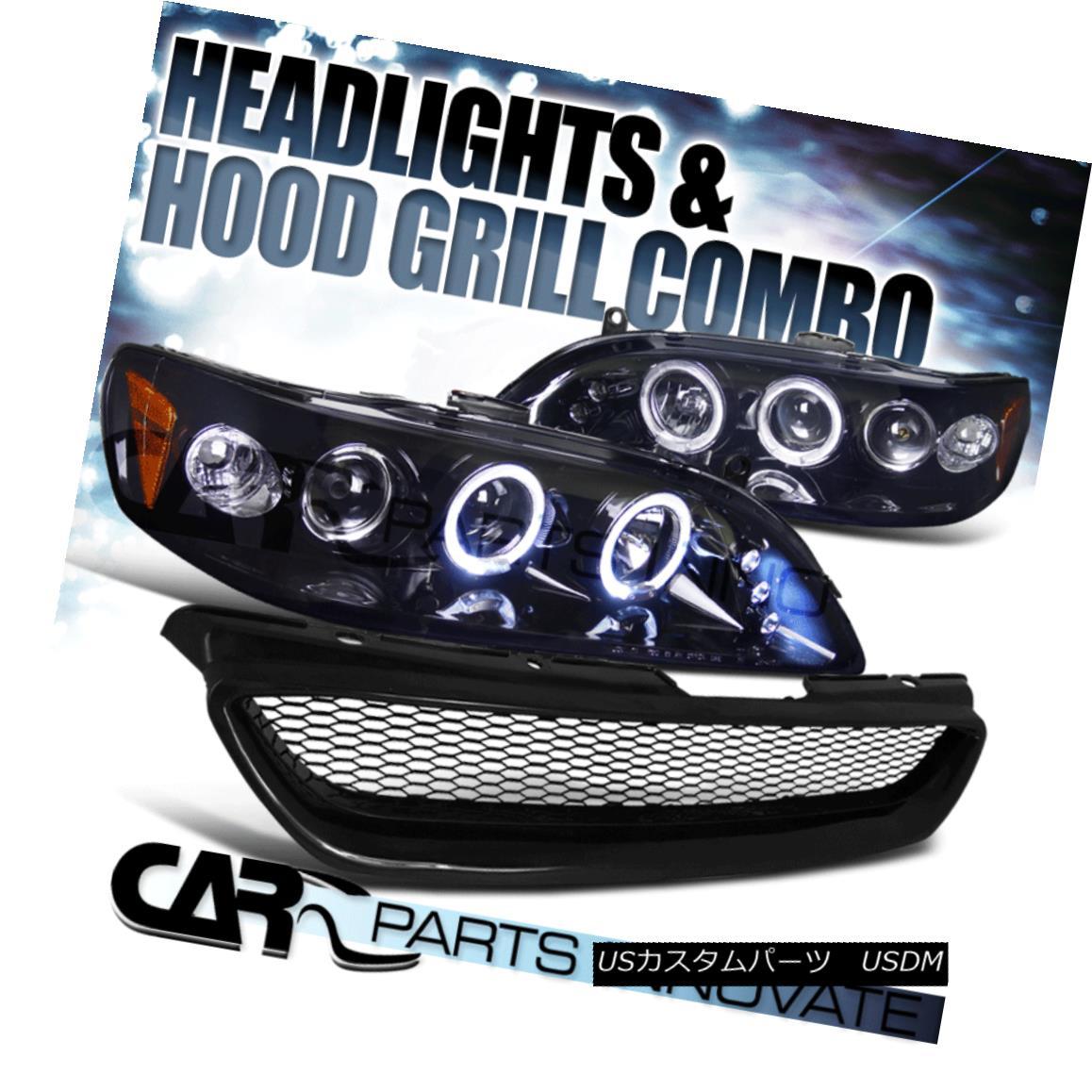 グリル Fit 1998-2002 Accord 2Dr Glossy Black Projector Headlights+Mesh Hood Grille Fit 1998-2002 Accord 2Dr Glossyブラックプロジェクターヘッドライト+メス hフードグリル