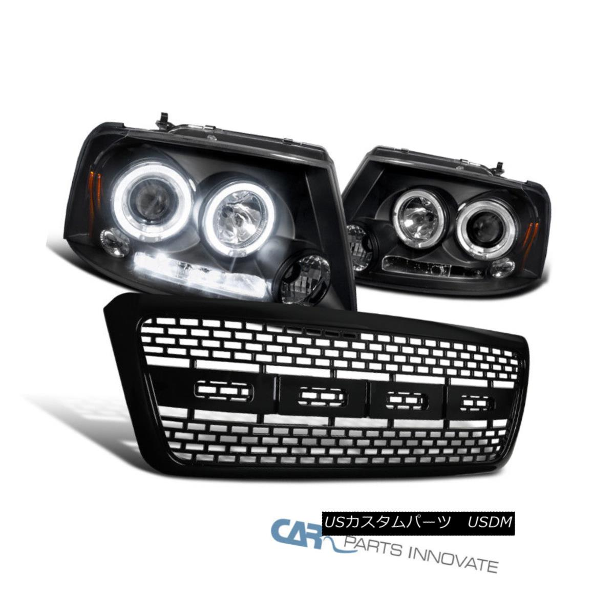 グリル Ford 04-08 F150 Black Halo LED Projector Headlights Clear+Raptor Hood Grille Ford 04-08 F150 Black Halo LEDプロジェクターヘッドライトClear + Raptor Hood Grille