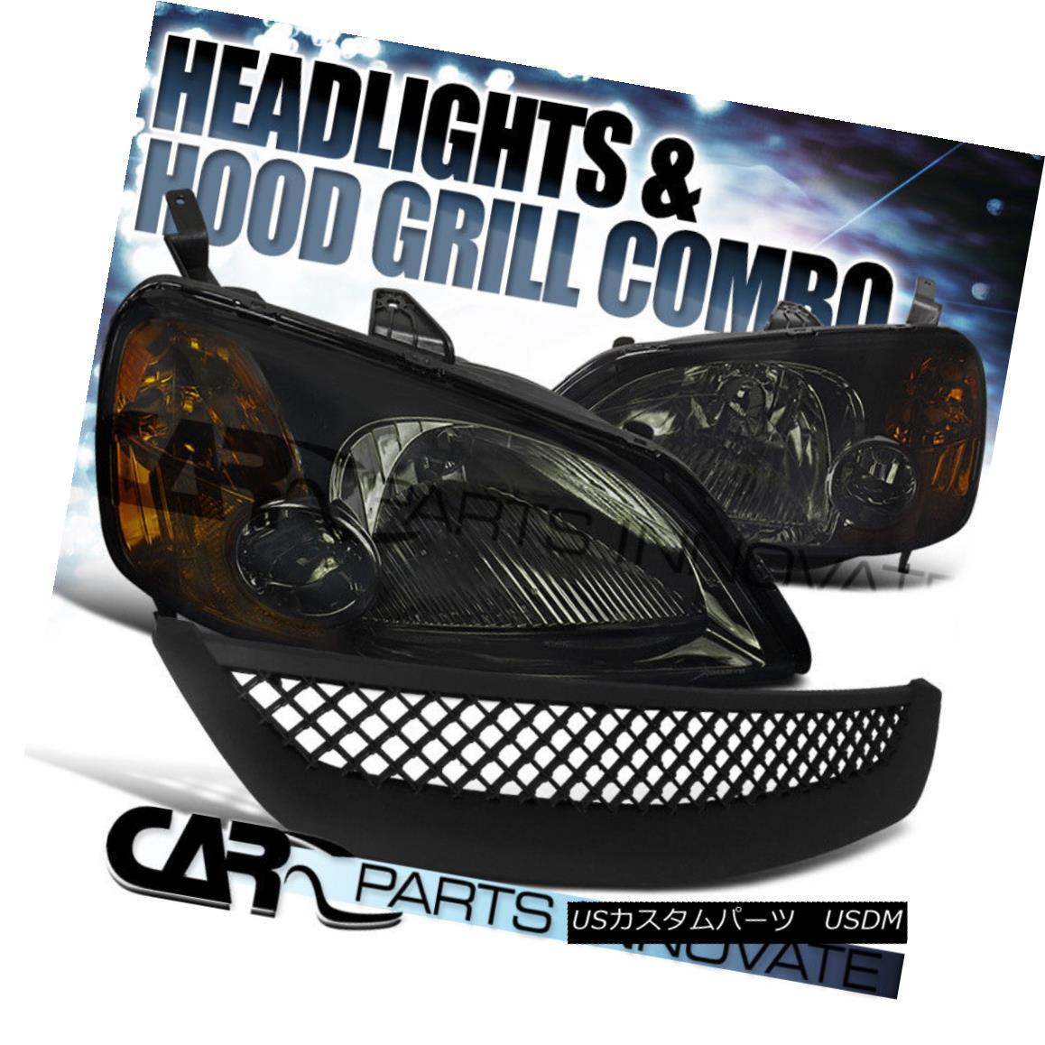 グリル For 01-03 Civic EM ES 2/4Dr Smoke Crystal Headlight+ABS Type Mesh Hood Grille R 01-03 Civic EM ES 2 / 4Drスモーククリスタルヘッドライト+ ABSタイプメッシュフードグリルR